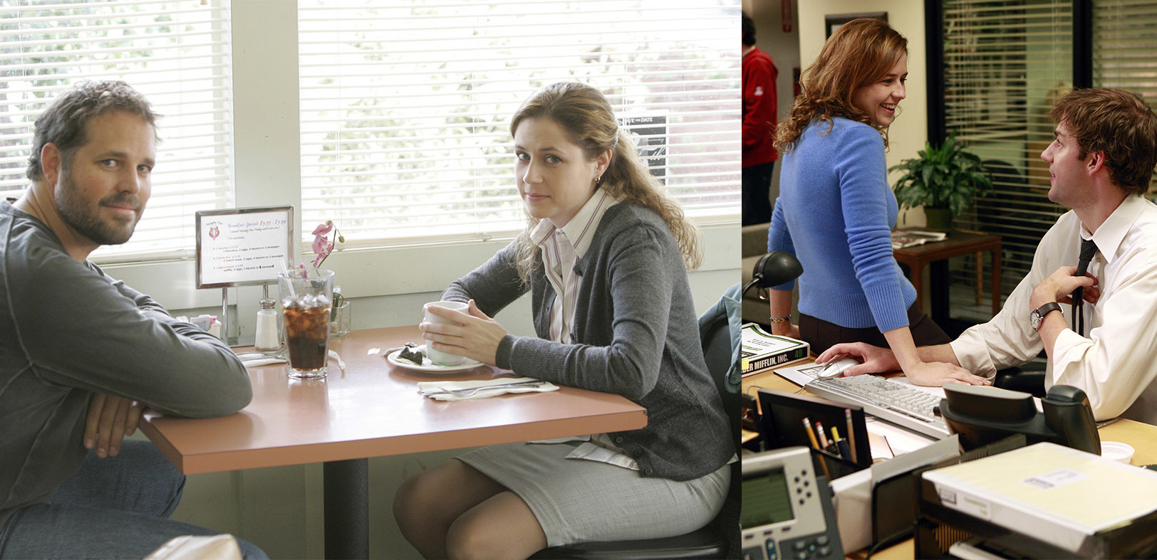 """David Denman and Jenna Fischer on """"The Office."""" / Jenna Fischer and John Krasinski on """"The Office."""""""