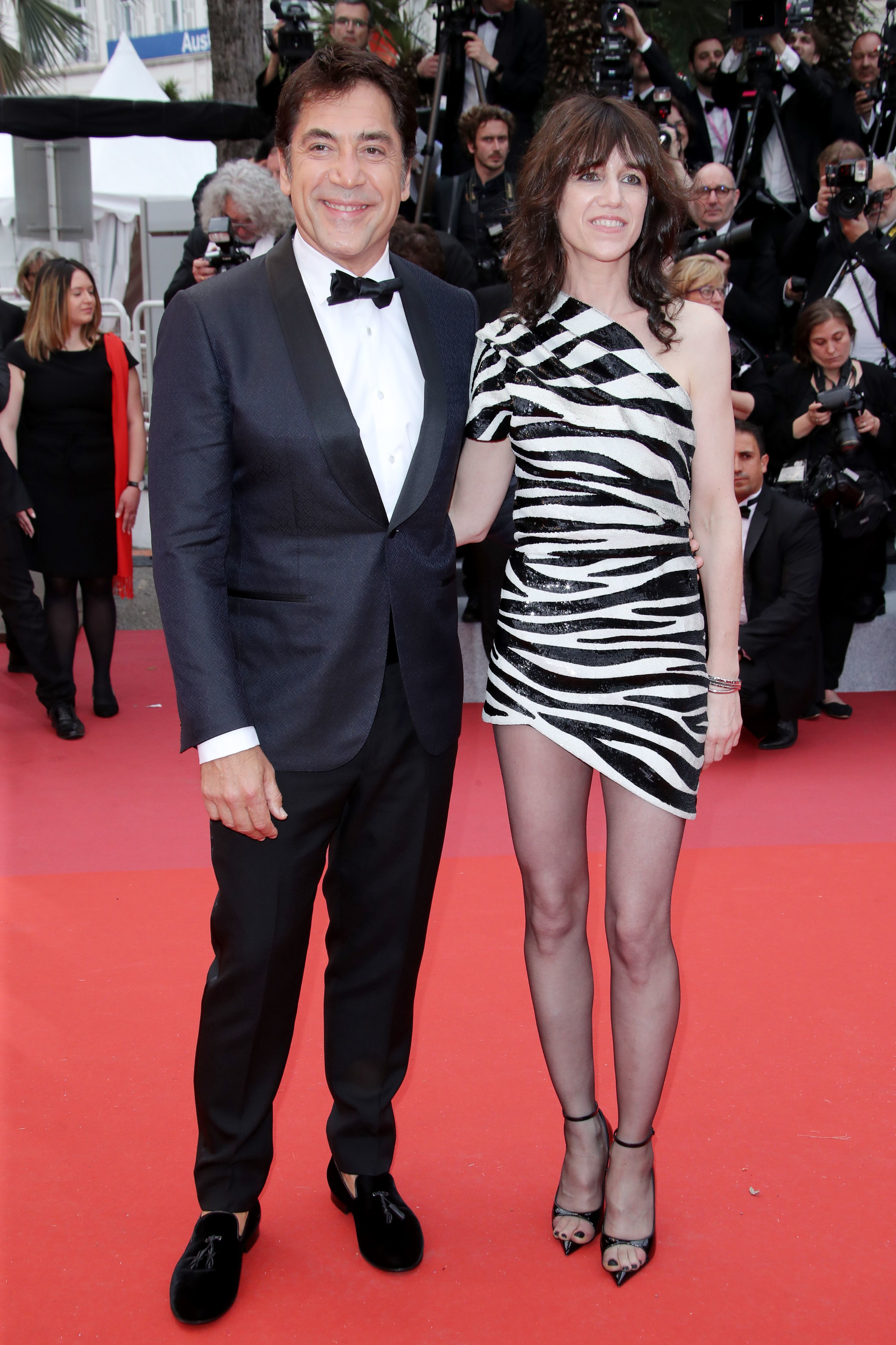 """Javier Bardem and Charlotte Gainsbourg attend """"The Dead Don't Die: premiere and opening ceremony during the 72nd Cannes Film Festival on May 14, 2019."""