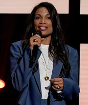 Rosario Dawson speaks during the NBCUniversal Upfront presentation in New York City on May 13, 2019.