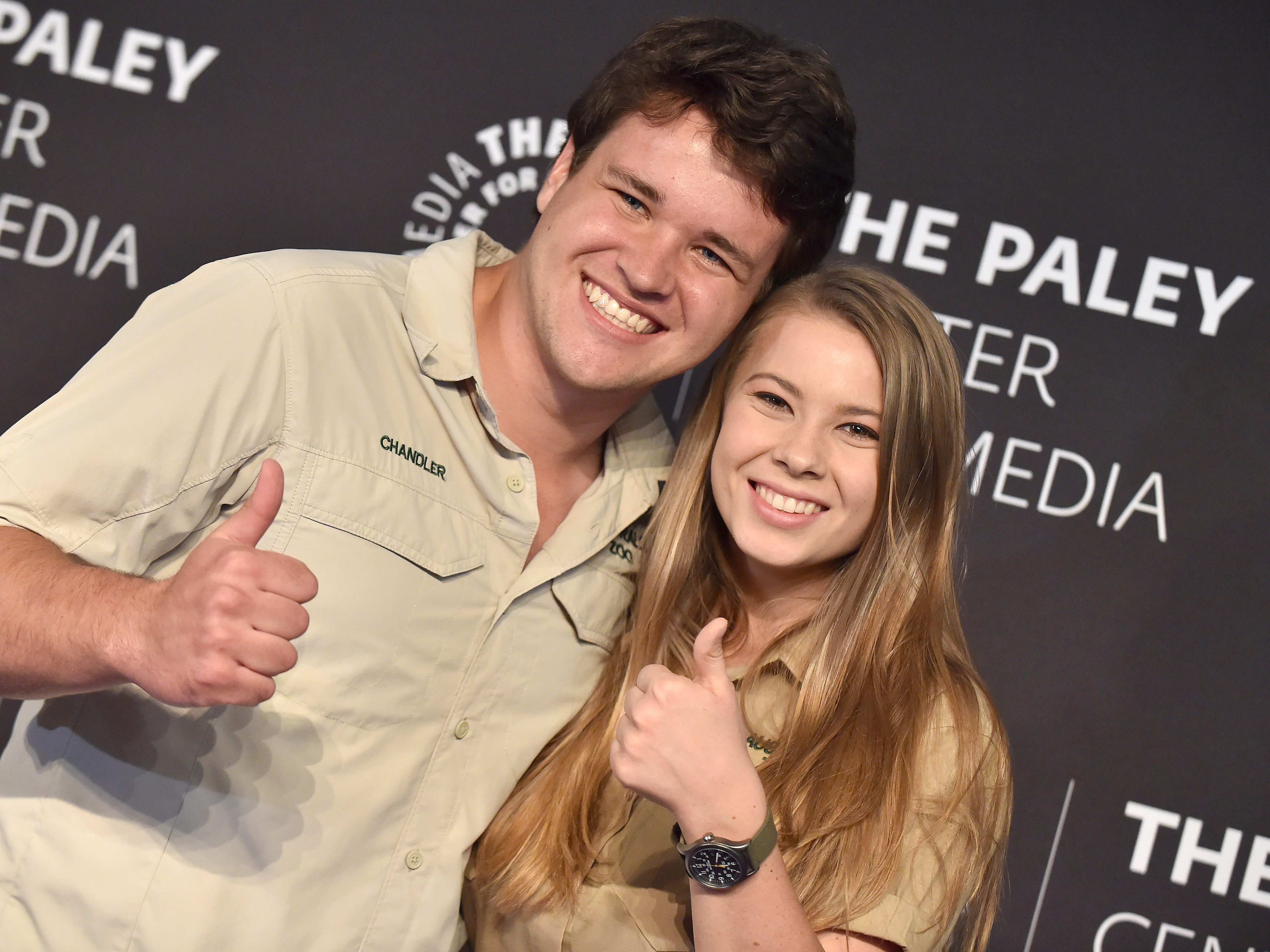 """Chandler Powell and Bindi Irwin attend The Paley Center for Media's """"An Evening with the Irwins: Crikey!"""" in Los Angeles on May 3, 2019."""