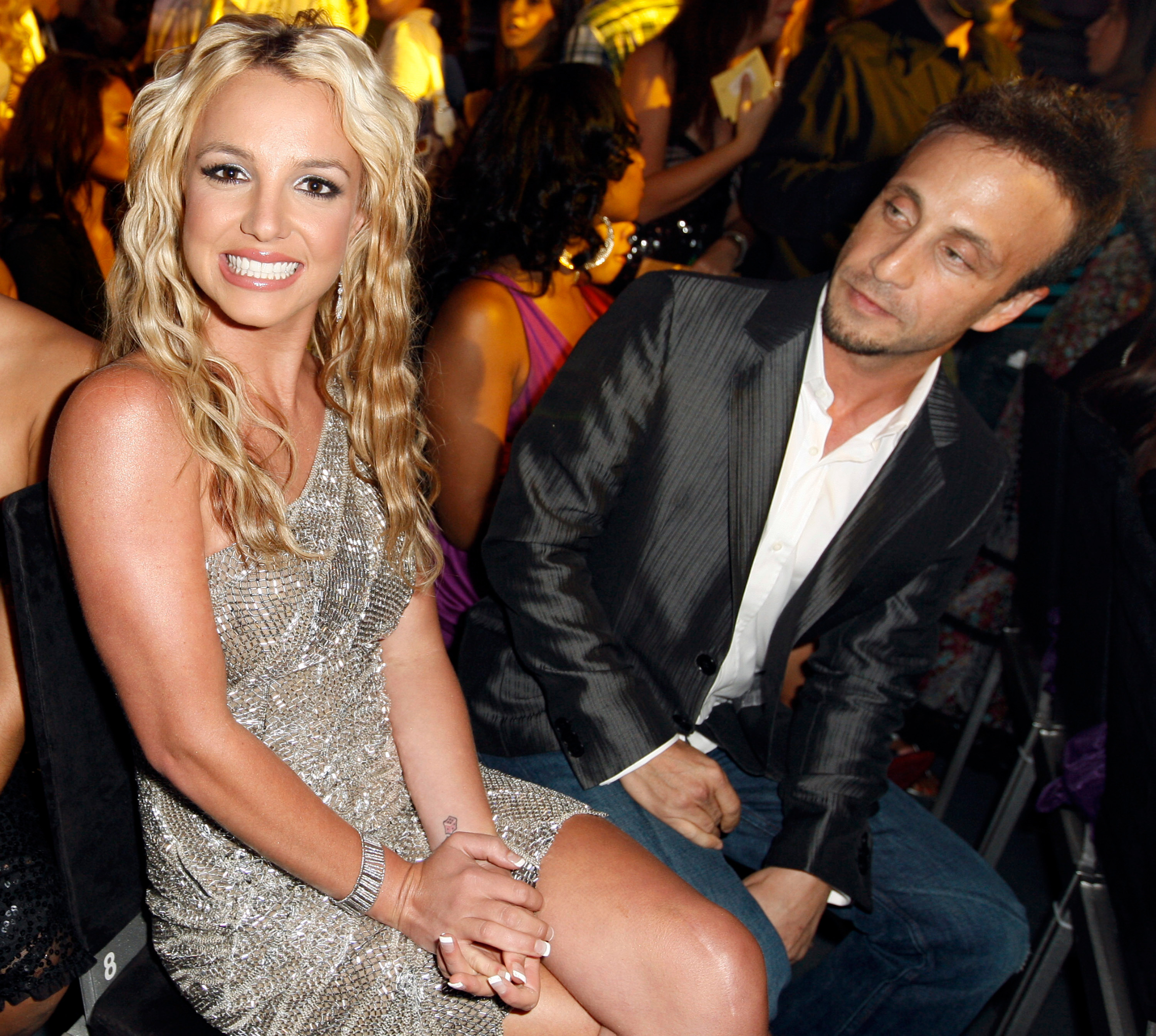 Britney Spears and manager Larry Rudolph attend the MTV Video Music Awards at Paramount Pictures Studios in Los Angeles on Sept. 7, 2008.