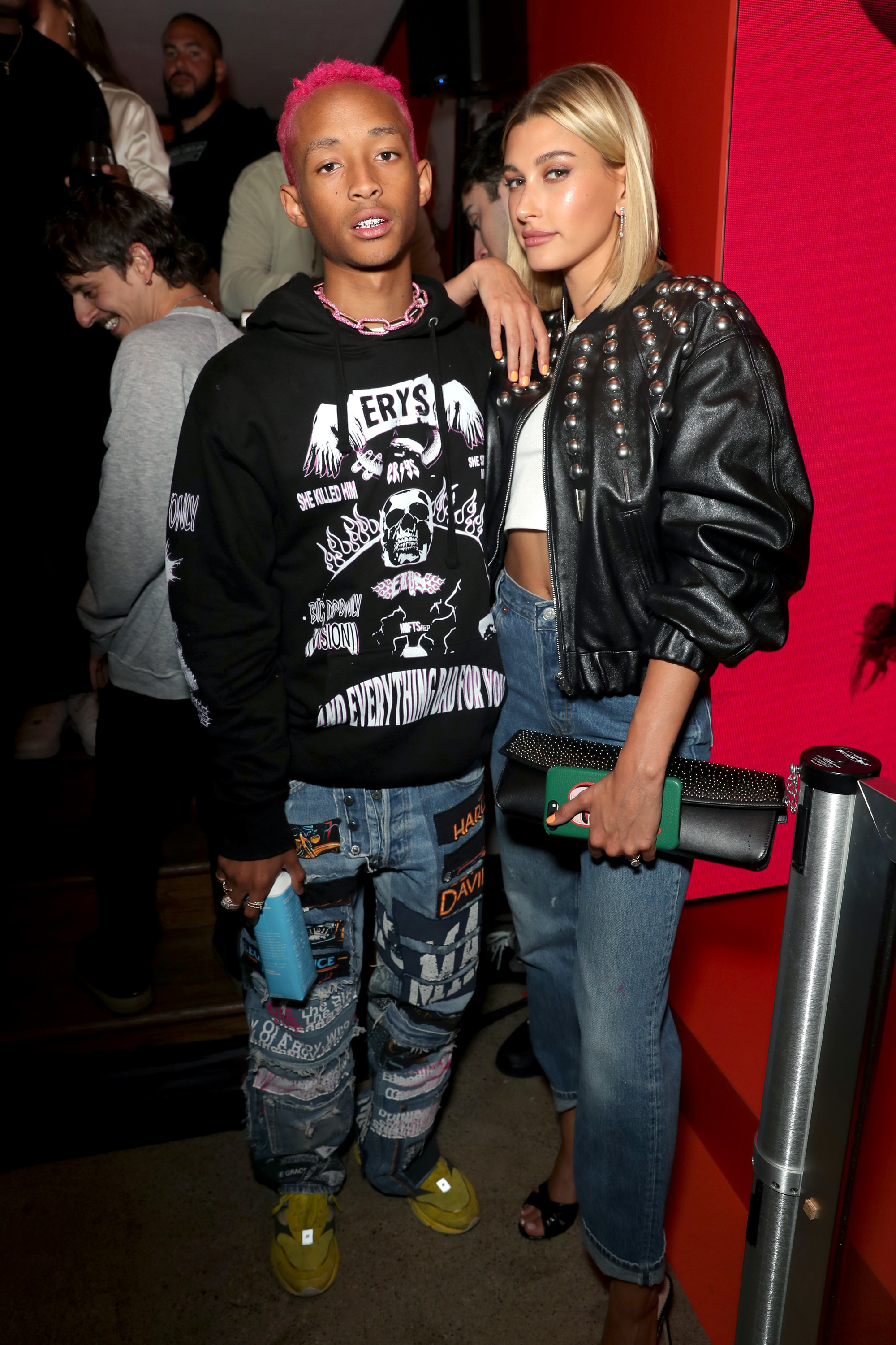 Jaden Smith and Hailey Baldwin Bieber strike a pose at Levi's 501 Day Hosted by Hailey Bieber and Heron Preston at the Levi's Haus in Los Angeles on May 18, 2019.