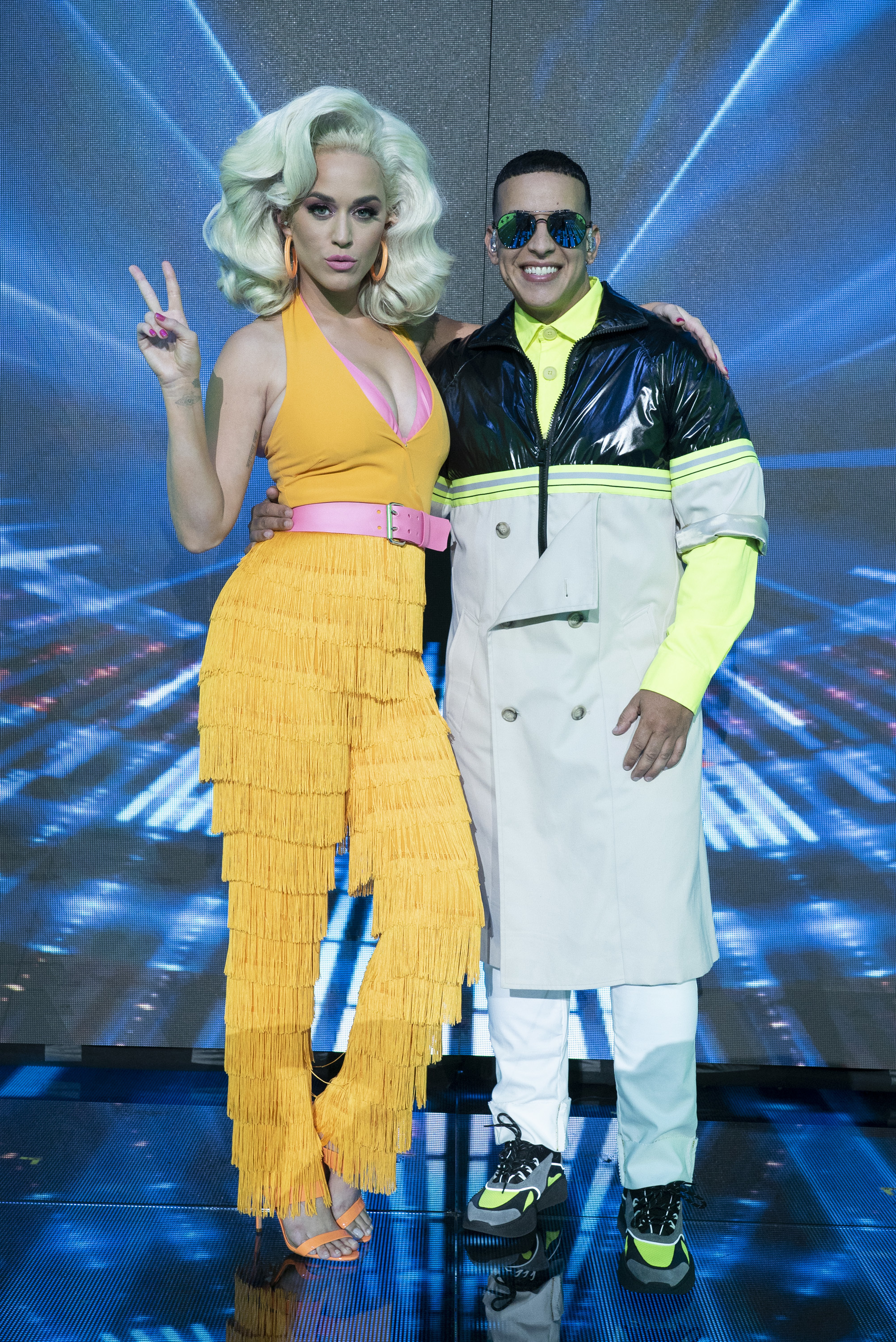 """Katy Perry poses with Daddy Yankee on the """"American Idol"""" season finale on May 19, 2019."""