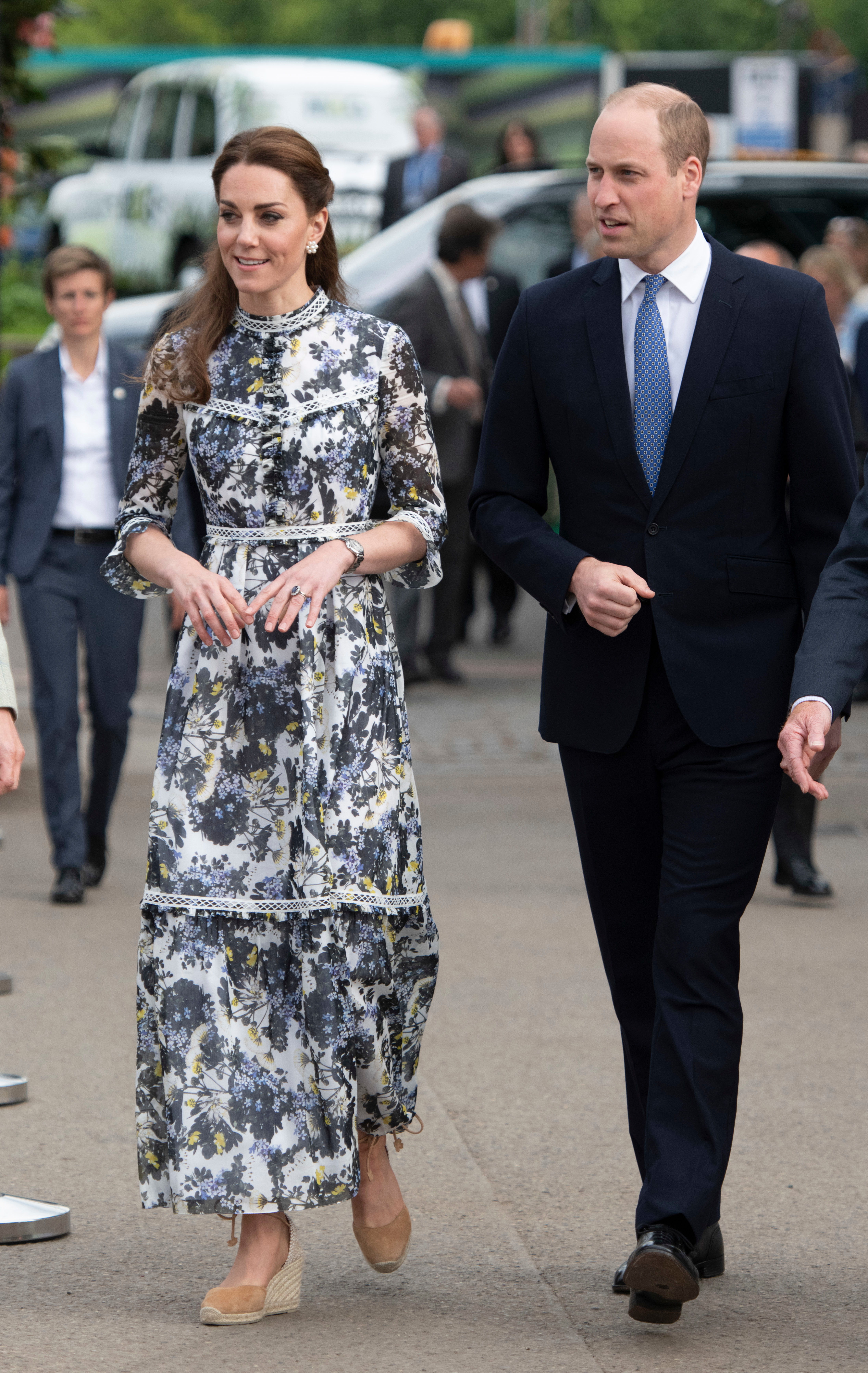 Duchess Kate and Prince William arrive for the RHS Chelsea Flower Show press day in London on May 20, 2019.