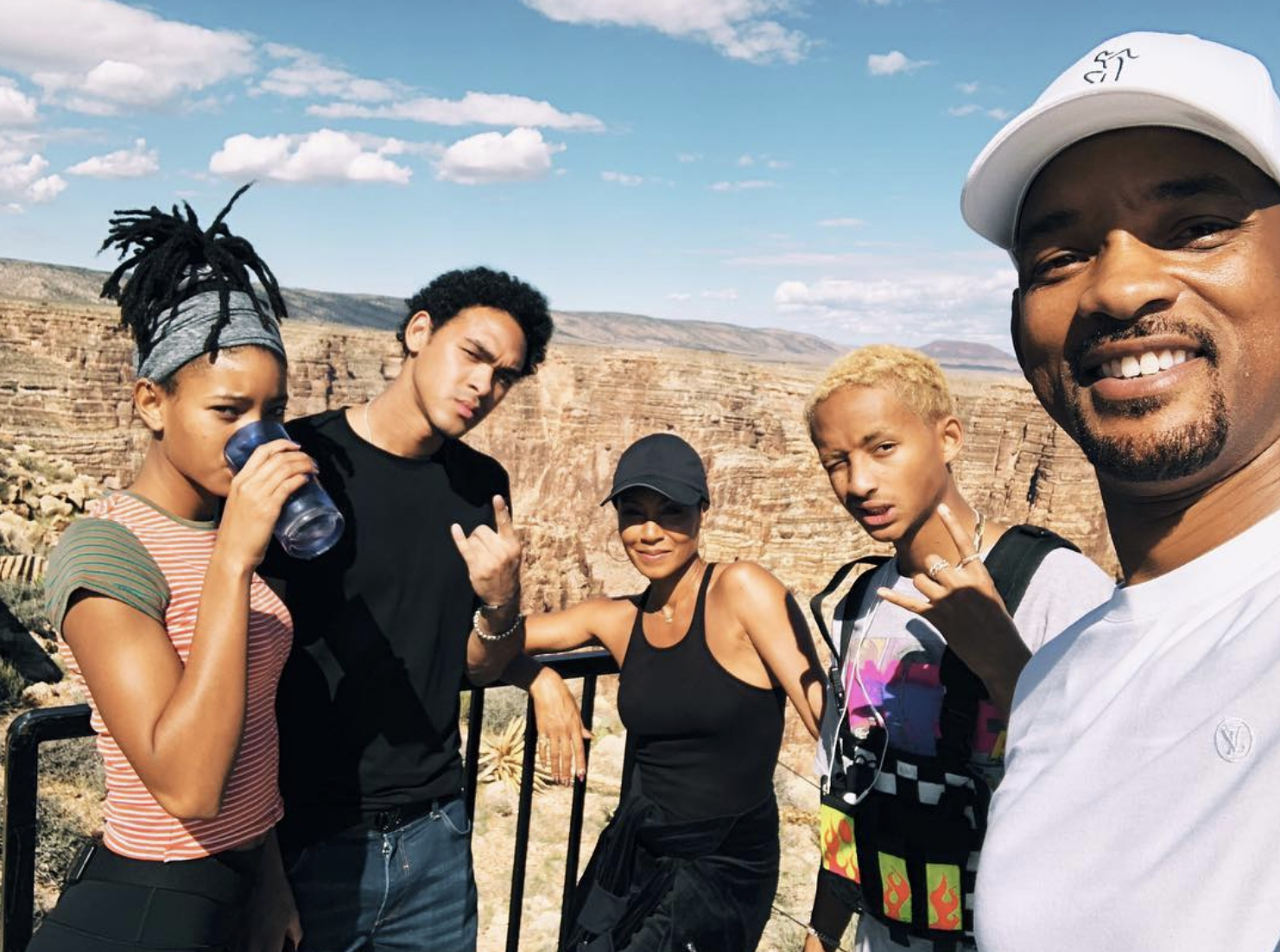 """My Squad holding me down for my big 5 0. We're gonna start live streaming on my YouTube soon, link in bio #willsmiththejump""   Will Smith, who posted this pic at the Grand Canyon with kids Willow, Trey and Jaden and wife Jada Pinkett Smith on Sept. 25, 2018, before he bungee jumped out of a helicopter to mark his 50th birthday"