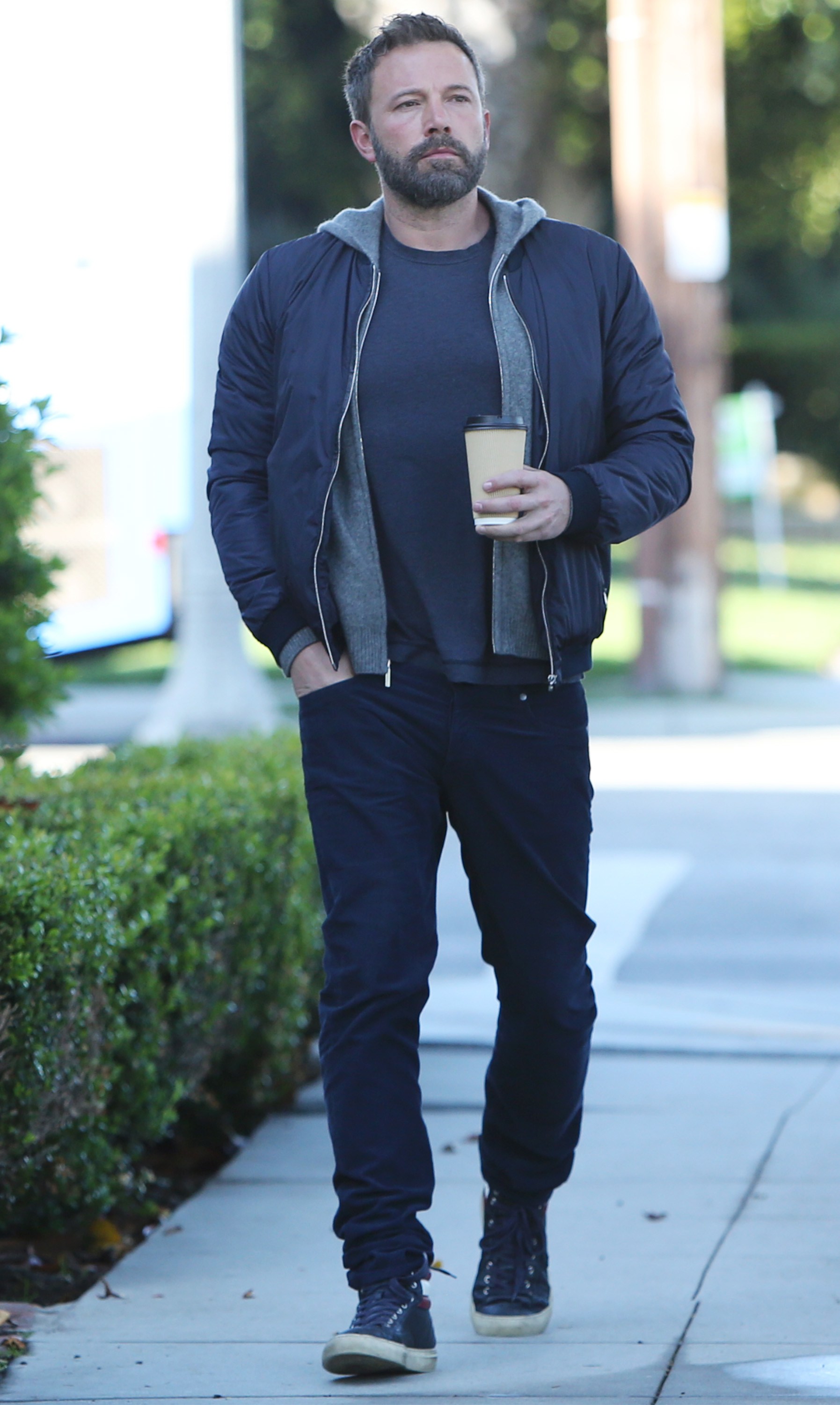 Ben Affleck enjoys a coffee while out and about in Los Angeles on May 20, 2019.