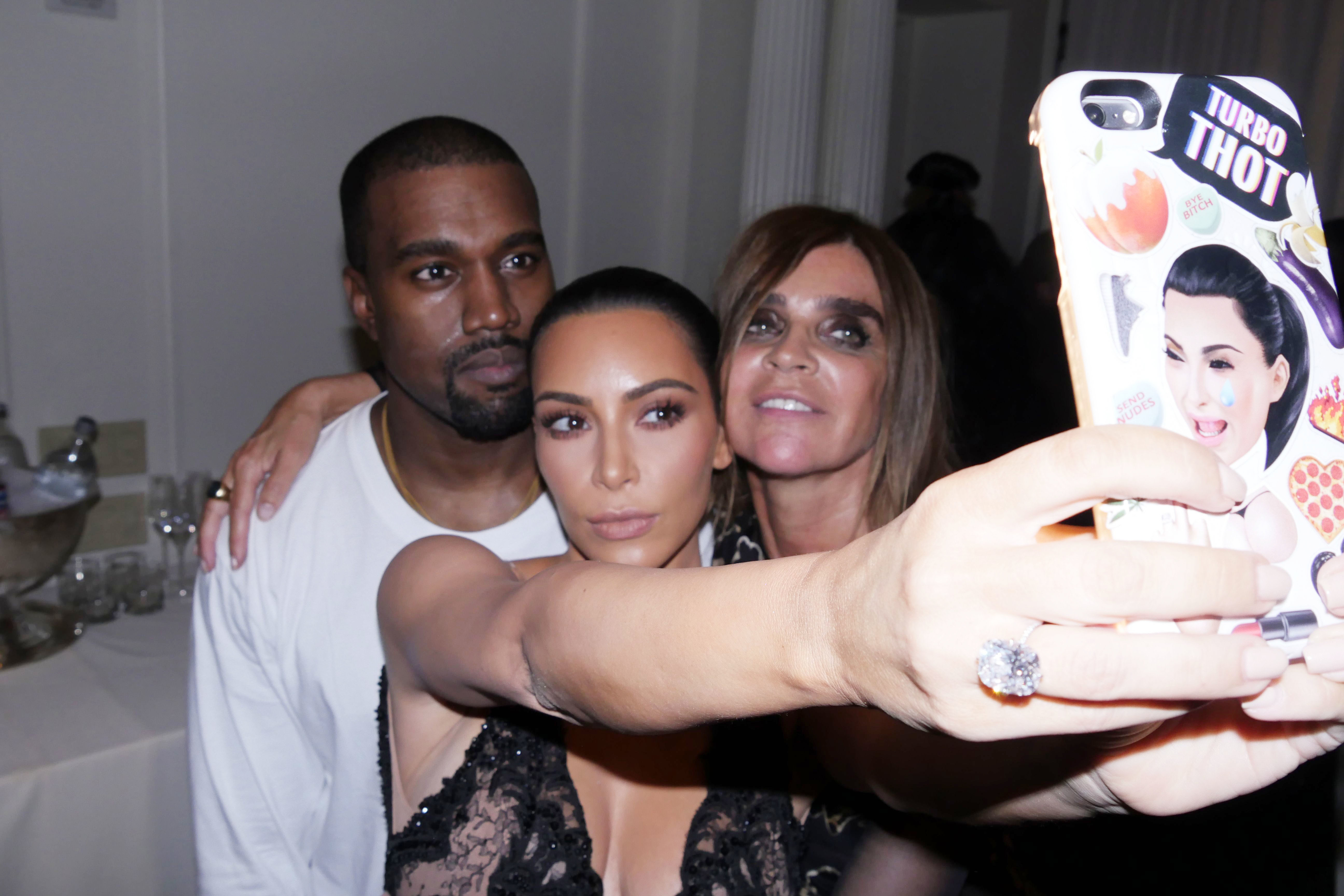 Kim Kardashian, Carine Restoin Roitfeld and Kanye West attend Harper's Bazar Icons party during New York Fashion Week on Sept. 9, 2016.