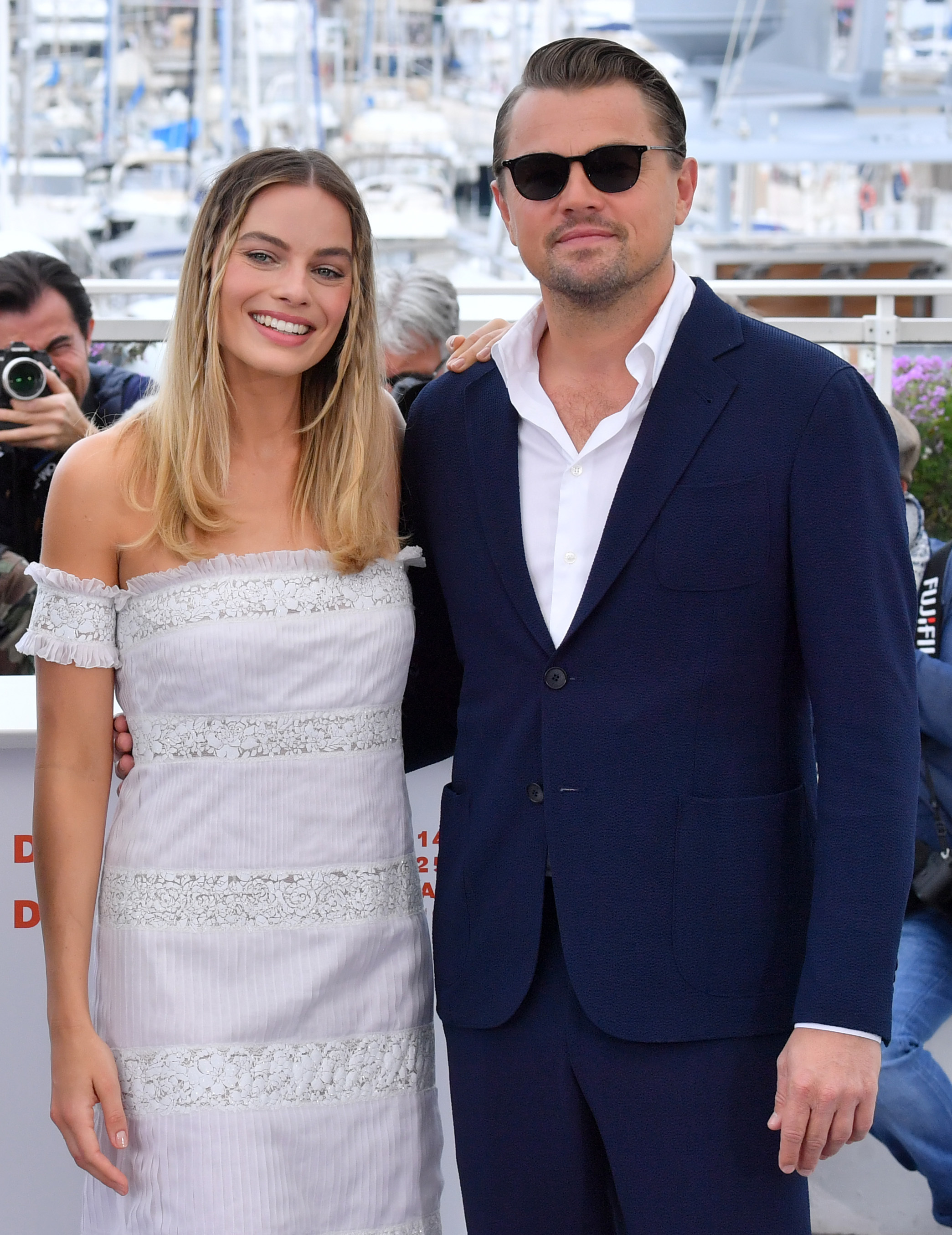 "Margot Robbie and Leonardo DiCaprio attend the ""Once Upon A Time in Hollywood"" photocall during the 72nd Cannes Film Festival on May 22, 2019."
