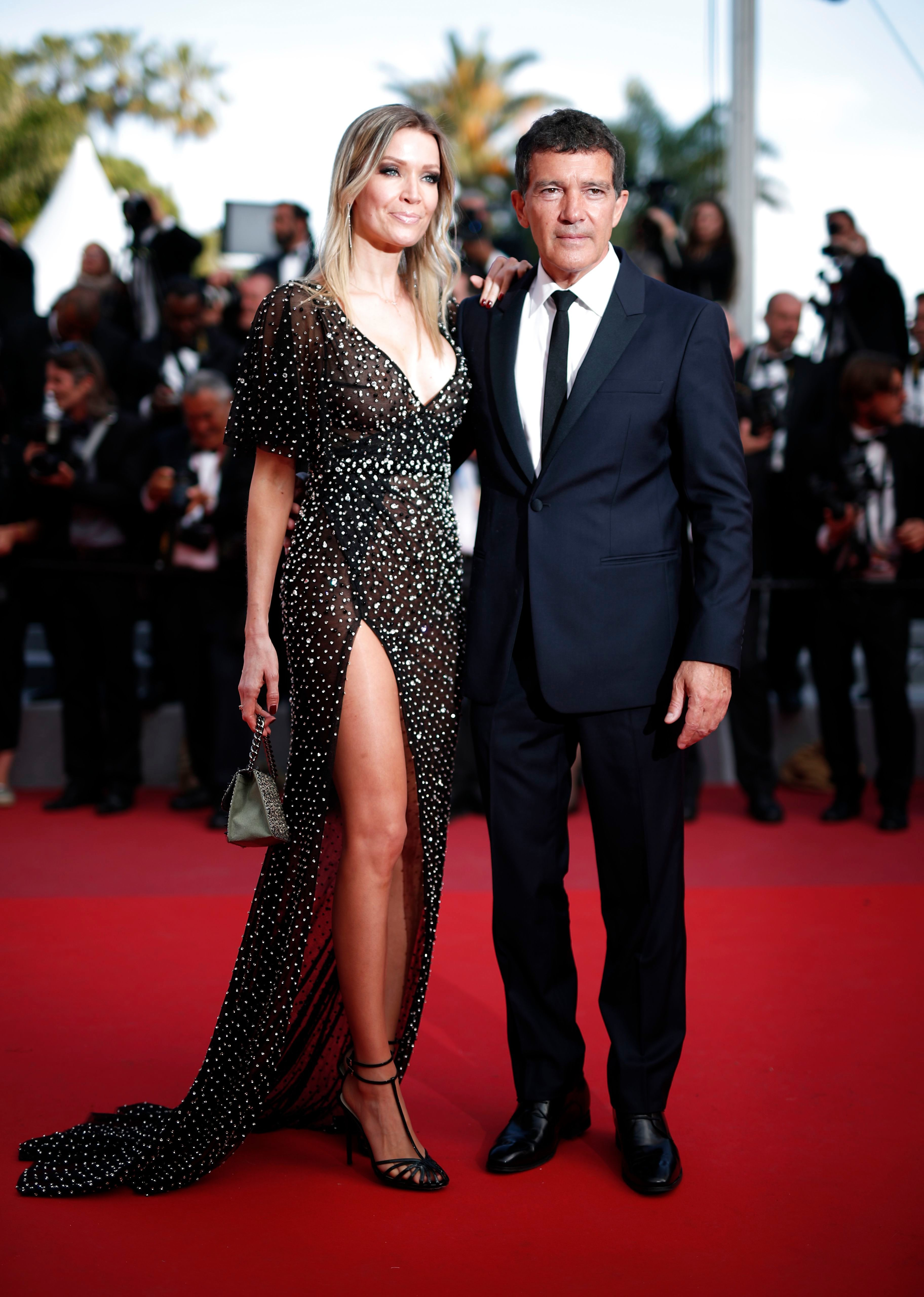 """Antonio Banderas and girlfriend Nicole Kimpel arrive for the Closing Awards Ceremony of the 72nd Annual Cannes Film Festival in France on May 25, 2019, where he received the best actor Palme d'Or prize for his work in the film """"Pain and Glory."""""""