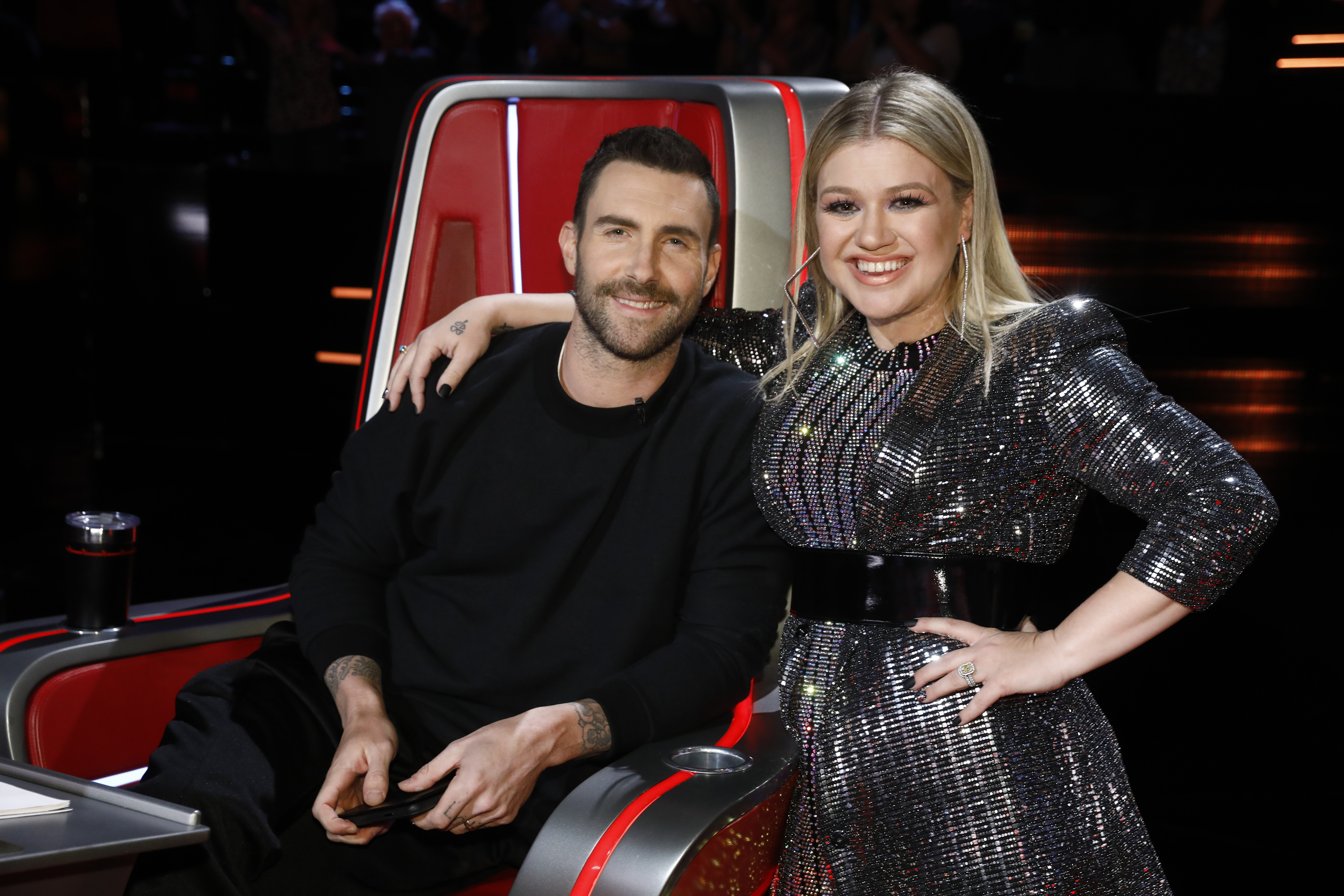 "Adam Levine and Kelly Clarkson on Season 14 of NBC's ""The Voice"" on April 18, 2018."