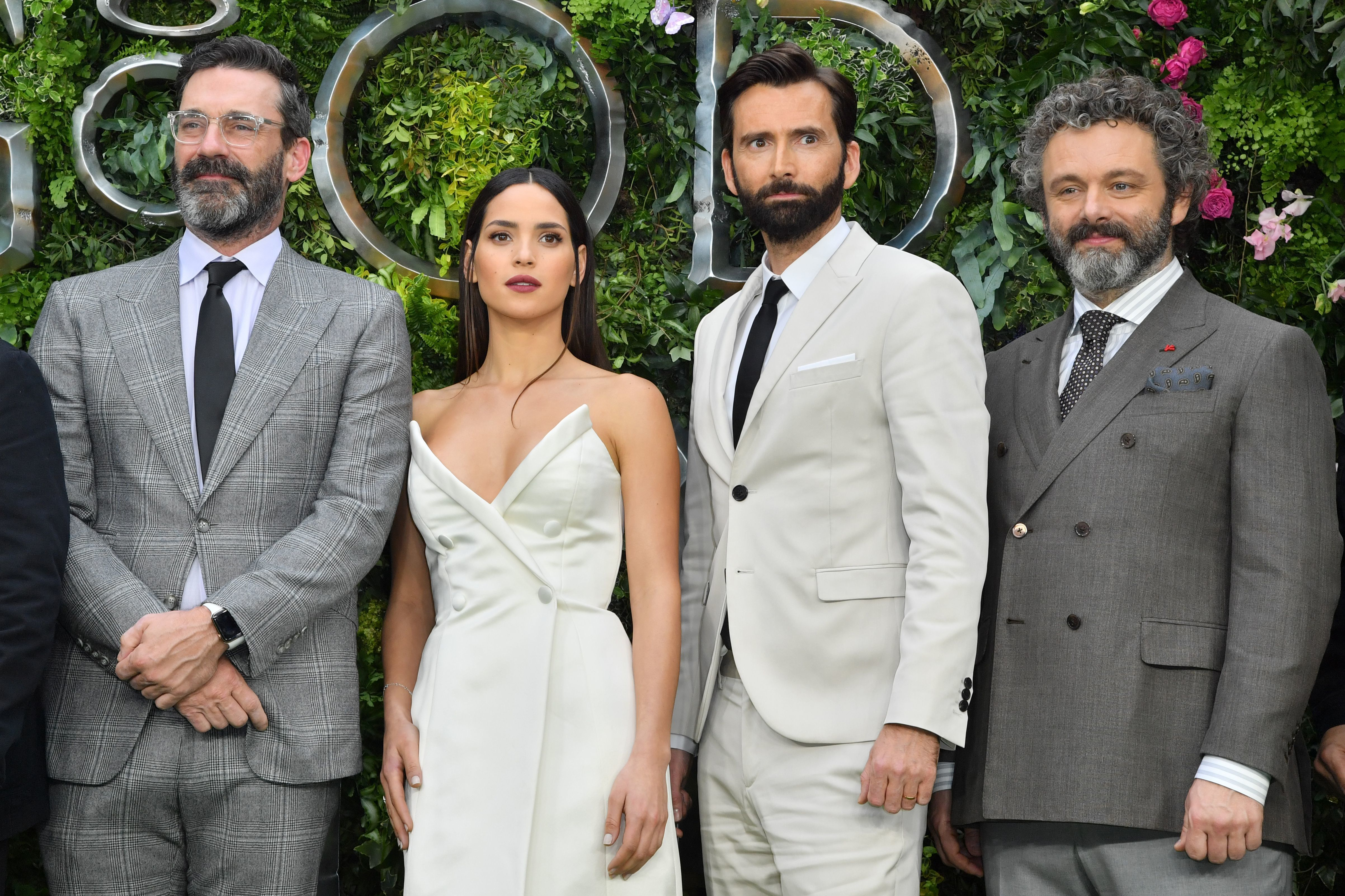 "Jon Hamm, Adria Arjona, David Tennant and Michael Sheen attend the ""Good Omens"" TV show premiere in London on May 28, 2019."