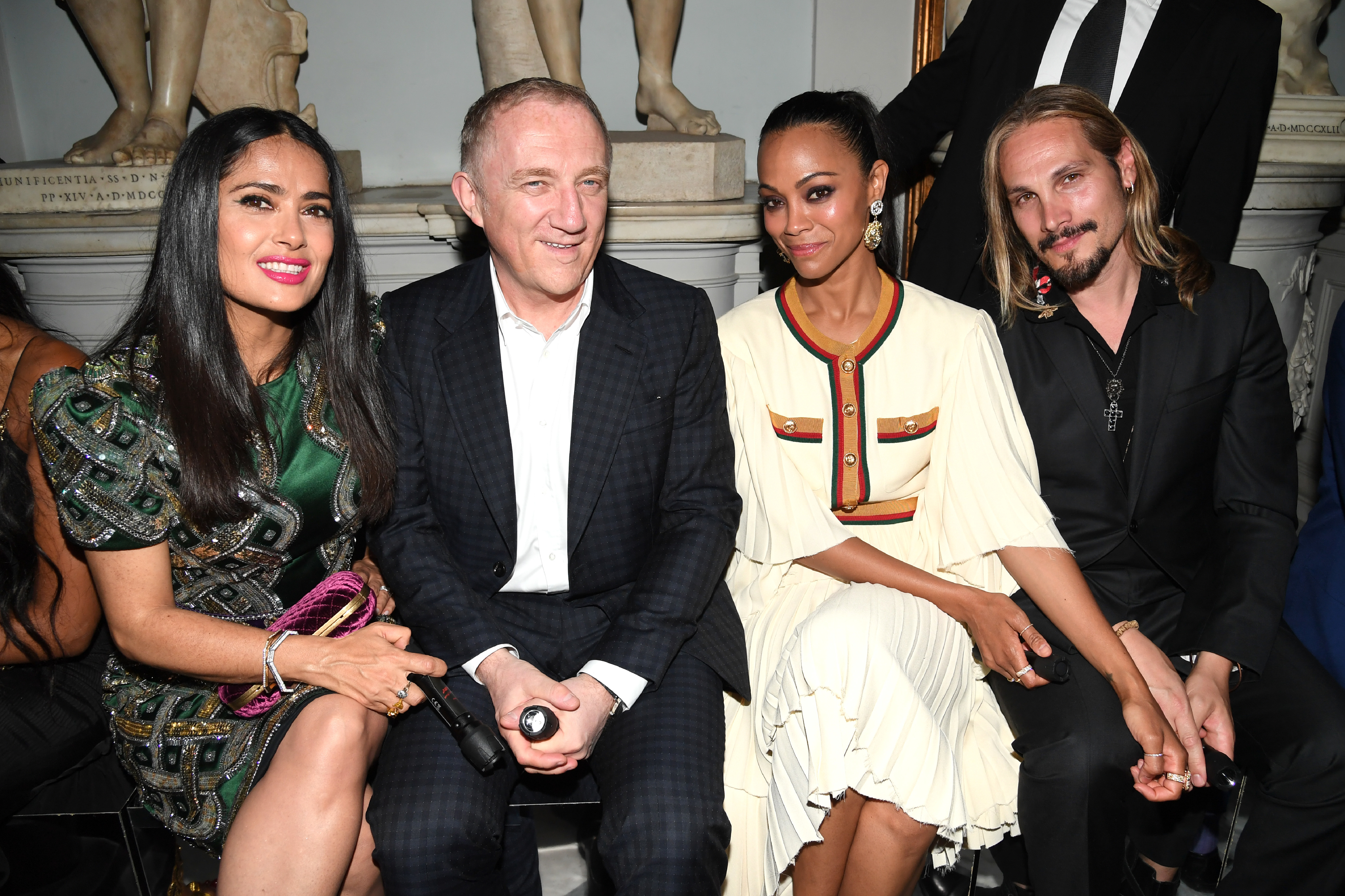 Salma Hayek, François Henri Pinault, Zoe Saldana and Marco Perego attend Gucci Cruise 2020 at Musei Capitolini in Rome, Italy, on May 28, 2019.