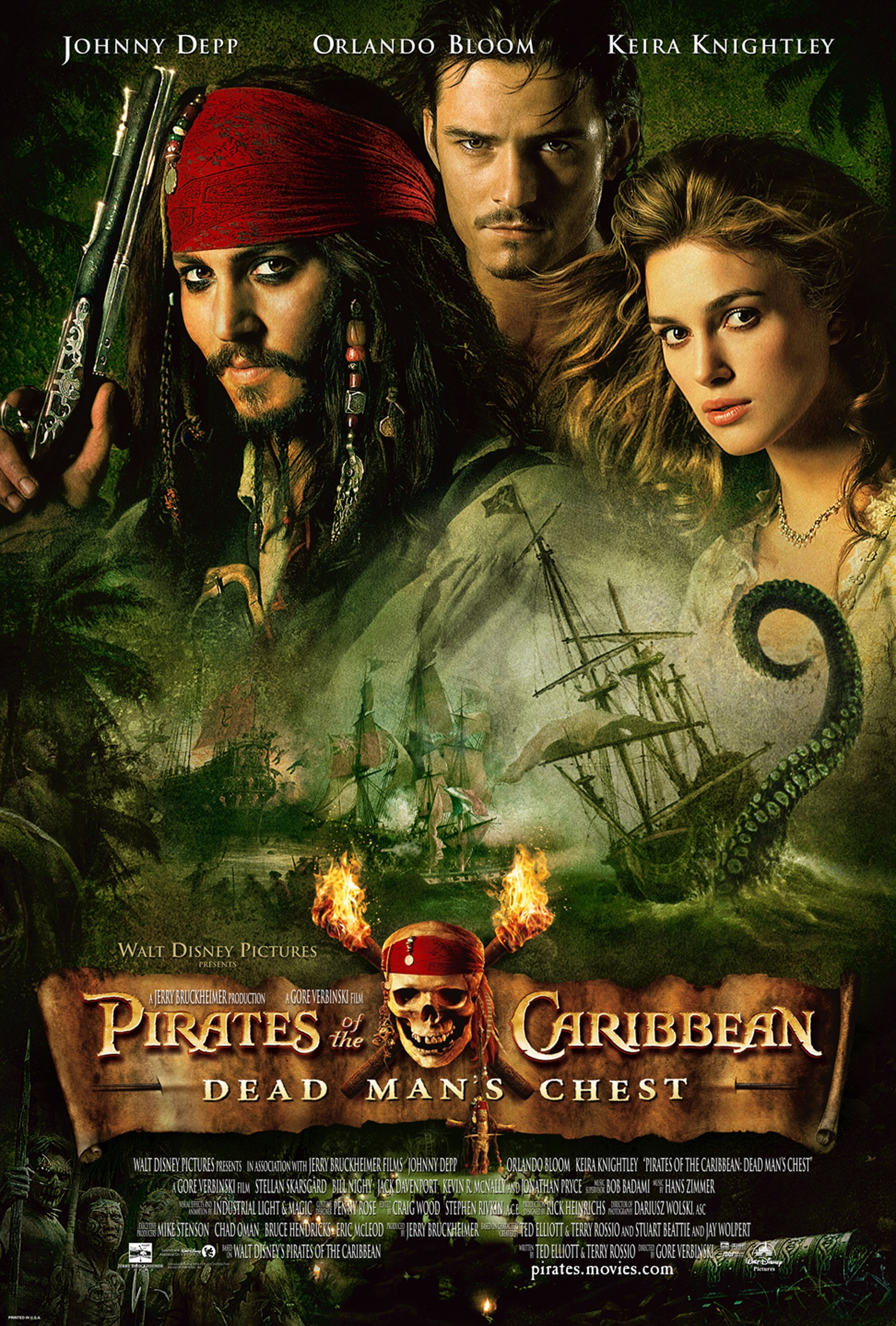 "Johnny Depp, Orlando Bloom and Keira Knightley in poster art for 2006's ""Pirates of the Caribbean: Dead Man's Chest."""