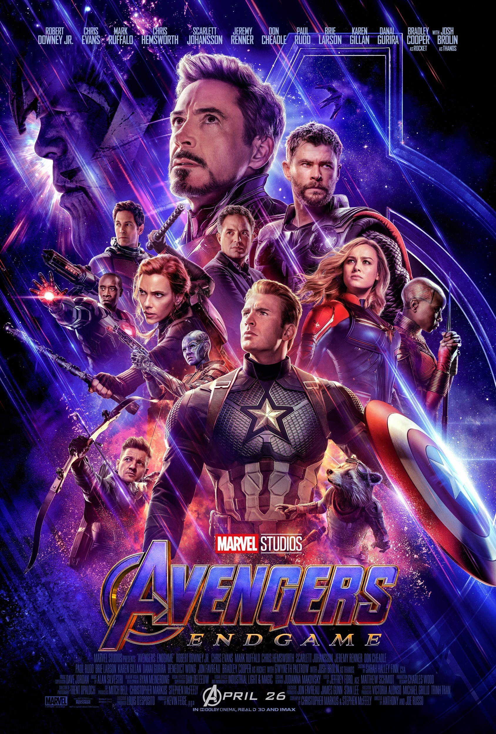 "Robert Downey Jr., Chris Evans, Chris Hemsworth, Brie Larson, Scarlett Johansson, Mark Ruffalo, Paul Rudd, Jeremy Renner, Don Cheadle, Danai Gurira and Karen Gillan in poster art for 2019's ""Avengers: Endgame."""