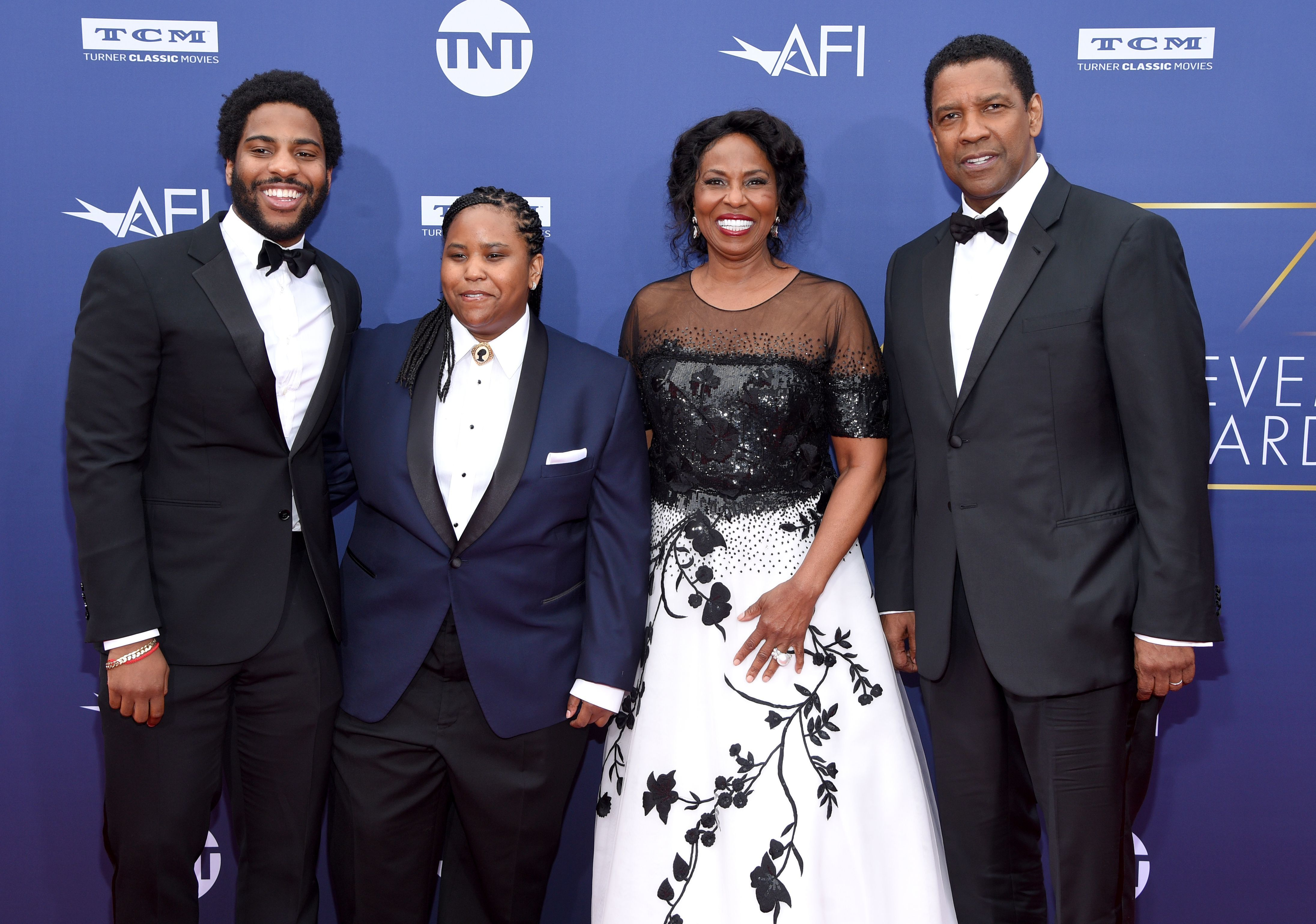 Malcolm Washington, Katia Washington, Pauletta Washington, and Denzel Washington attend the American Film Institute's 47th Life Achievement Award Gala Tribute To Denzel Washington at Dolby Theatre in Los Angeles on June 6, 2019.
