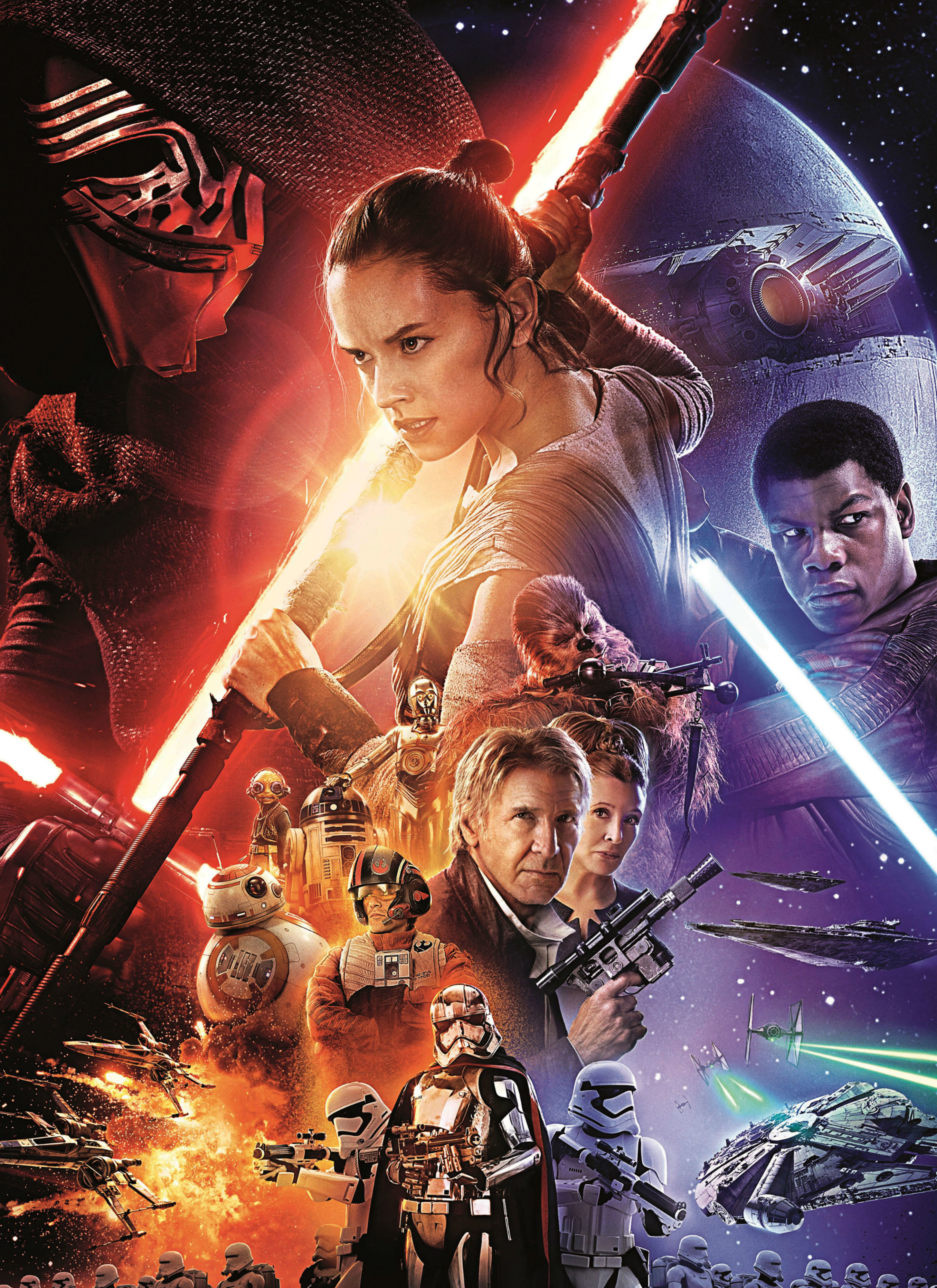 """Adam Driver, Kenny Baker, Anthony Daniels, Daisy Ridley, Peter Mayhew, John Boyega, Oscar Isaac, Harrison Ford, Carrie Fisher and Gwendoline Christie star in """"Star Wars: The Force Awakens"""" in 2015."""