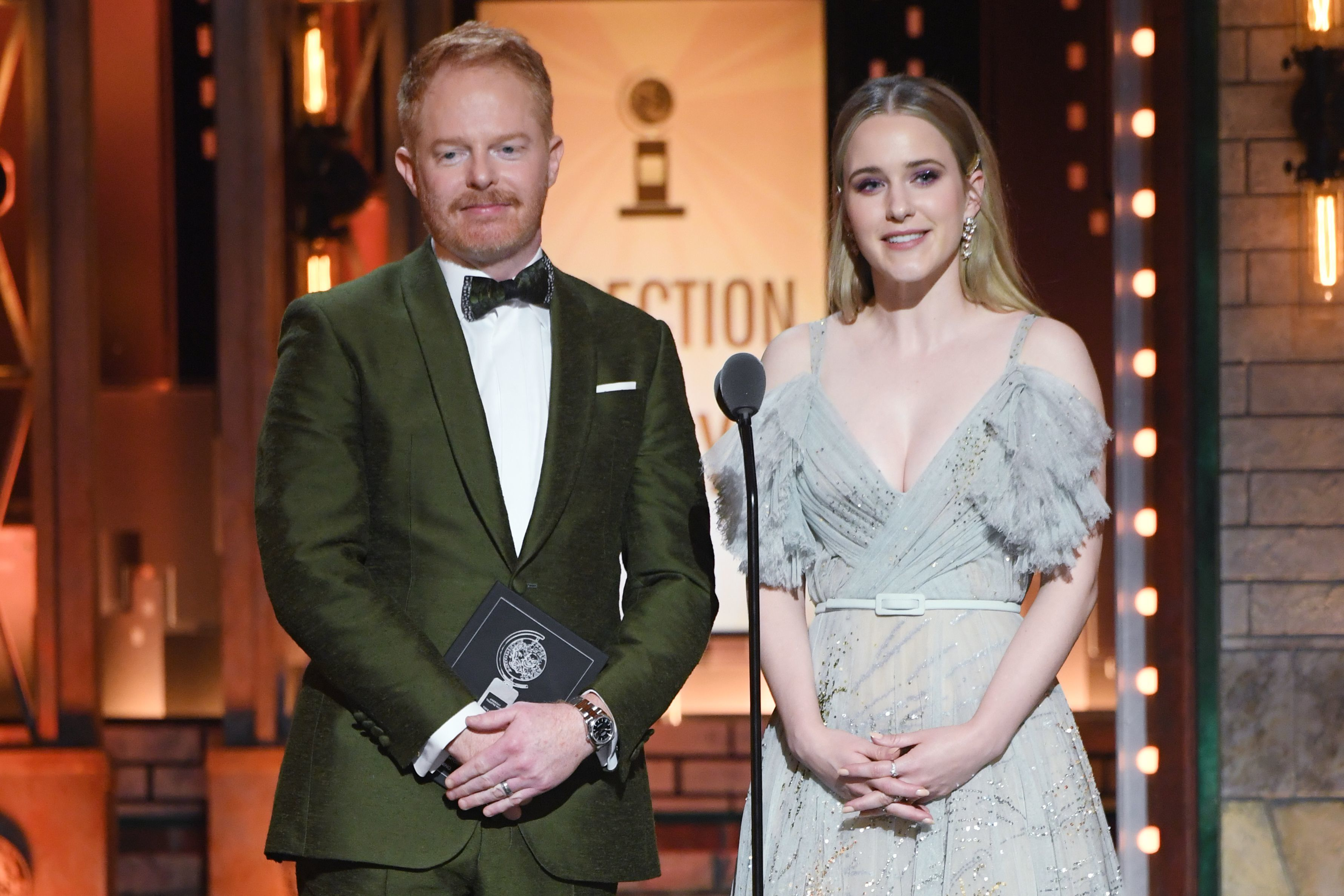 Jesse Tyler Ferguson and Rachel Brosnahan appear onstage during the 73rd Annual Tony Awards at Radio City Music Hall in New York City on June 9, 2019.