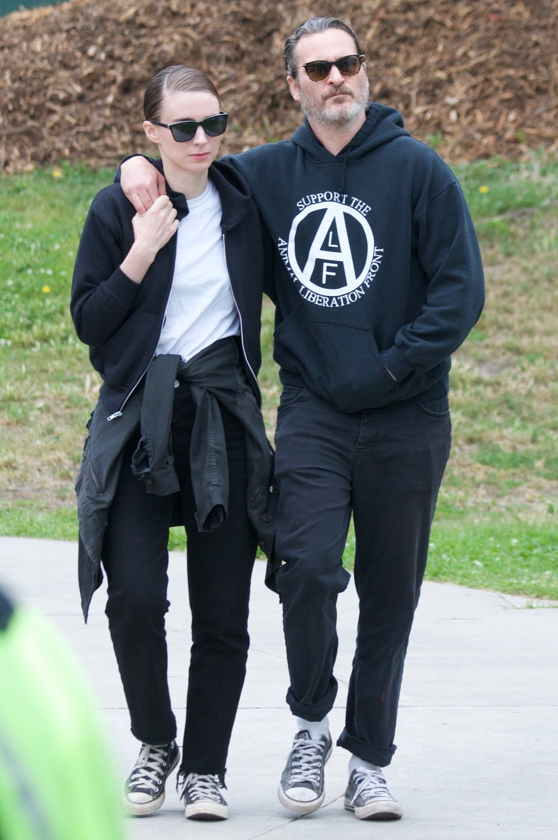 Joaquin Phoenix and Rooney Mara were spotted coupled up while attending the National Animal Rights Day protest in West Hollywood, CA on June 2, 2019.