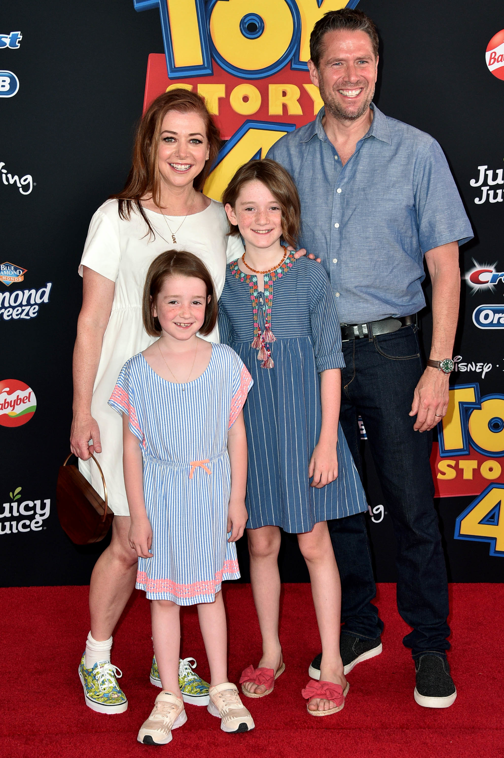 "Alyson Hannigan, Keeva Jane Denisof, Satyana Marie Denisof and Alexis Denisof arrive at the world premiere of ""Toy Story 4"" in Los Angeles on June 11, 2019."
