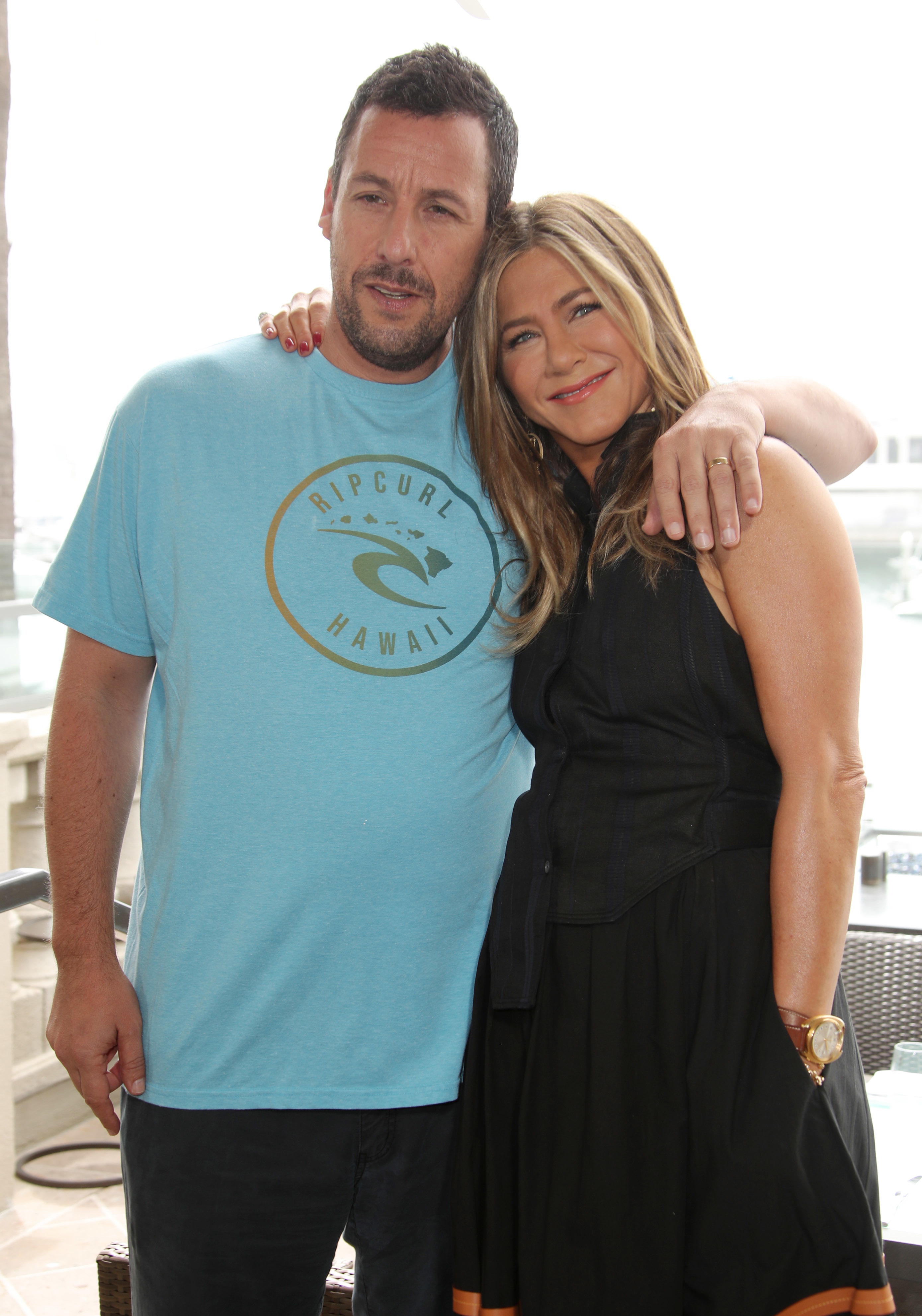 "Adam Sandler and Jennifer Aniston attend the ""Murder Mystery"" photocall in Los Angeles on June 11, 2019."