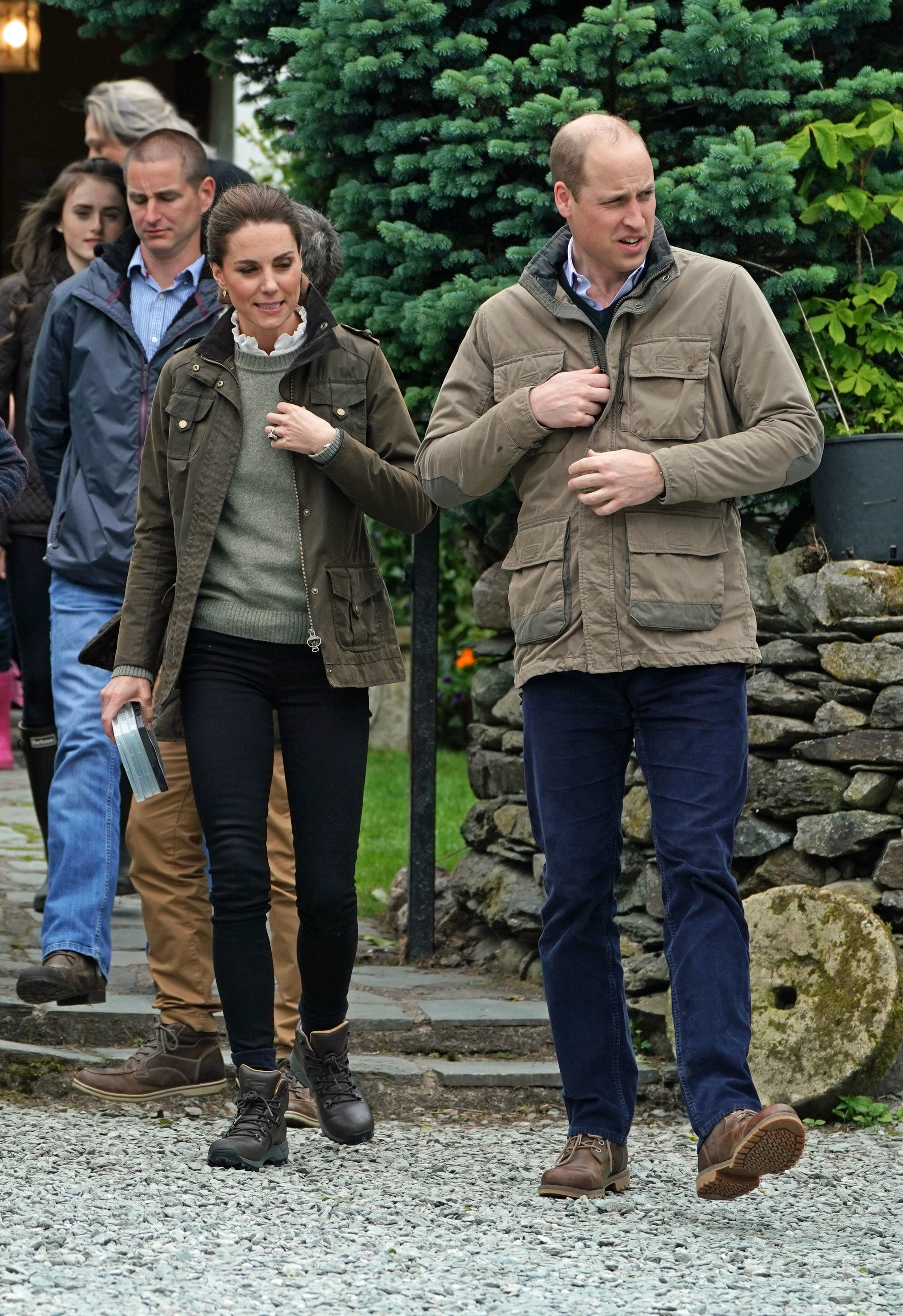Duchess Kate and Prince William appear during a visit to Deepdale Hall Farm, a traditional fell sheep farm in Patterdale, Cumbria, England, on June 11, 2019.