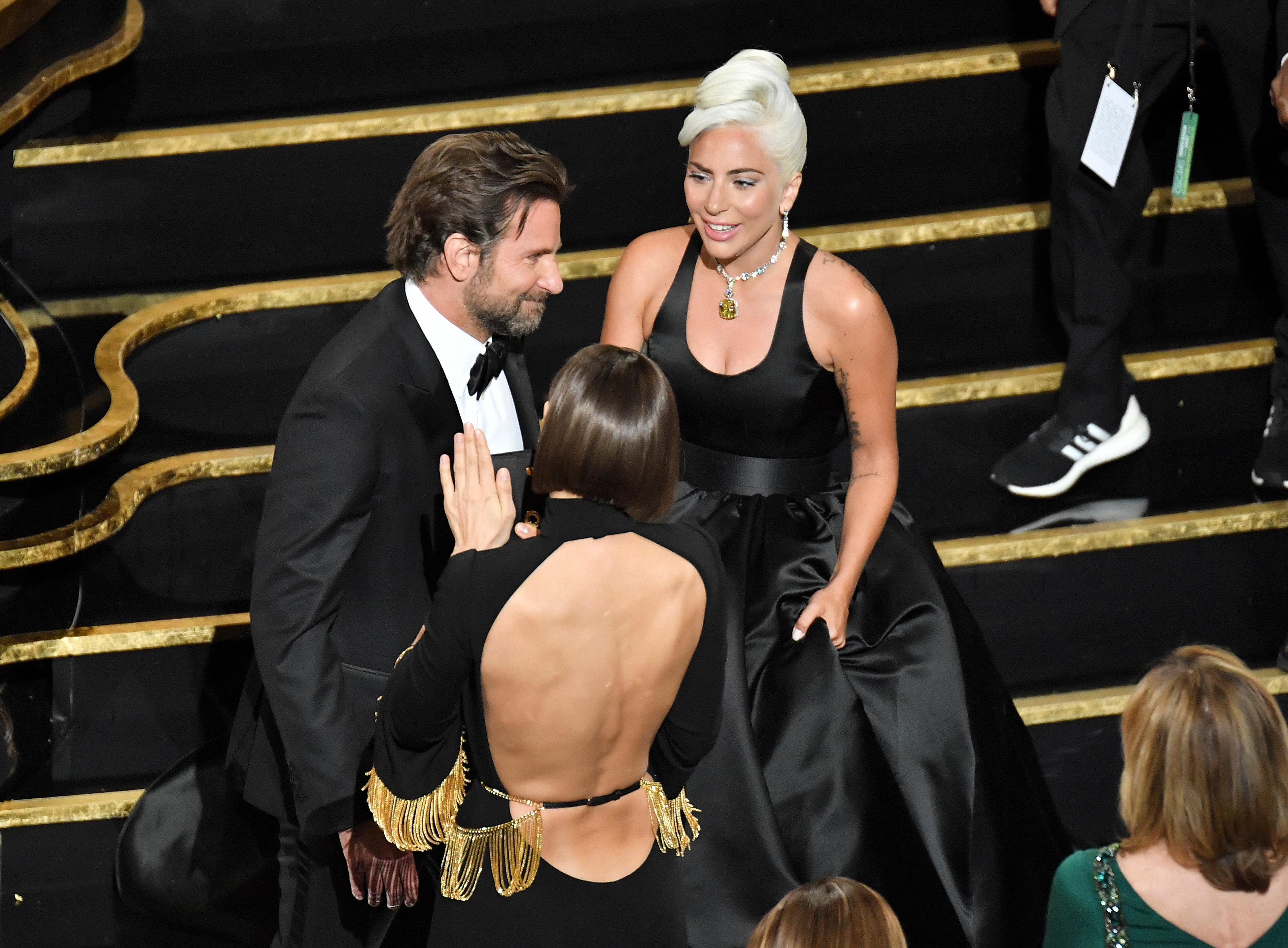 Bradley Cooper, Irina Shayk and Lady Gaga are seen together at the 91st Annual Academy Awards in Hollywood on Feb. 24, 2019.