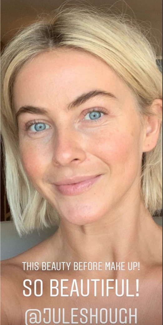"This beauty before makeup! So beautiful,"" makeup artist Mélanie Inglessis captioned this photo of Julianne Hough on her Instagram Story on May 2, 2019."
