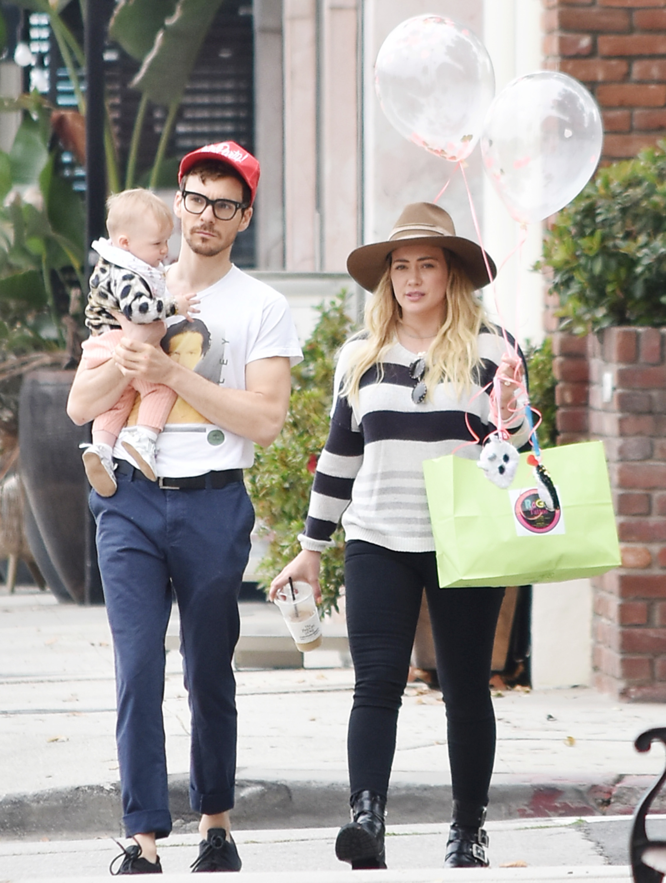 Matthew Koma, Hilary Duff and daughter Banks are spotted out and about in Los Angeles on June 15, 2019.