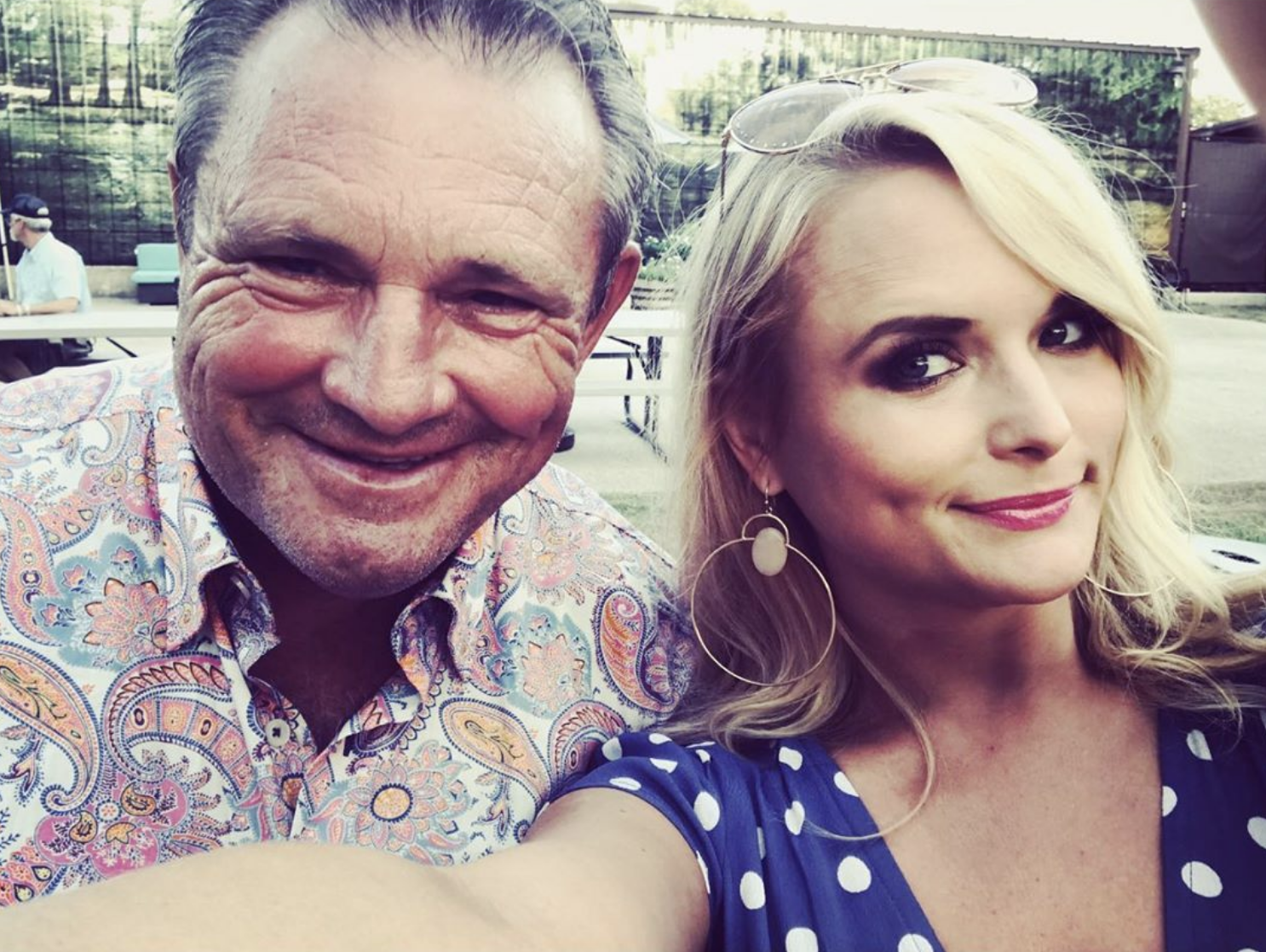 """""""Happy Father's Day to this one. Thanks for teaching me how to play a guitar, write a song, handle a gun, and stand strong in who I am. For all the haggard songs and for all the fried eggs and bacon first thing in the morning for 35 years. #RickLambert #yallwantsomeeggs?""""   Miranda Lambert, who posted this selfie with dad Rick Lambert on June 16, 2019"""