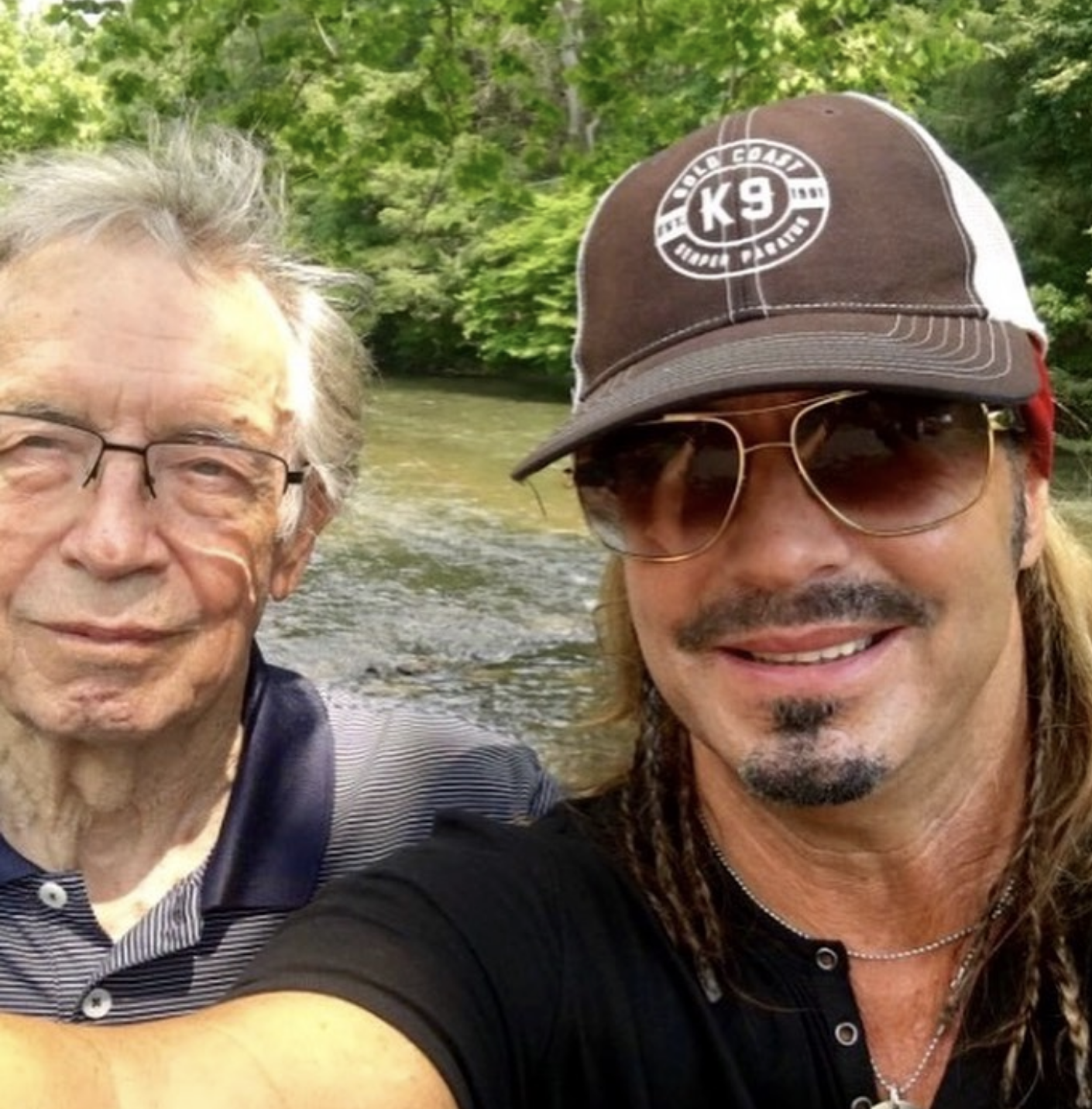 """""""Happy #FathersDay #Dad! Thank you for your service & most important, for being a great dad! 🤘🎸🇺🇸""""   Bret Michaels, who posted this Father's Day selfie with his dad on June 16, 2019"""