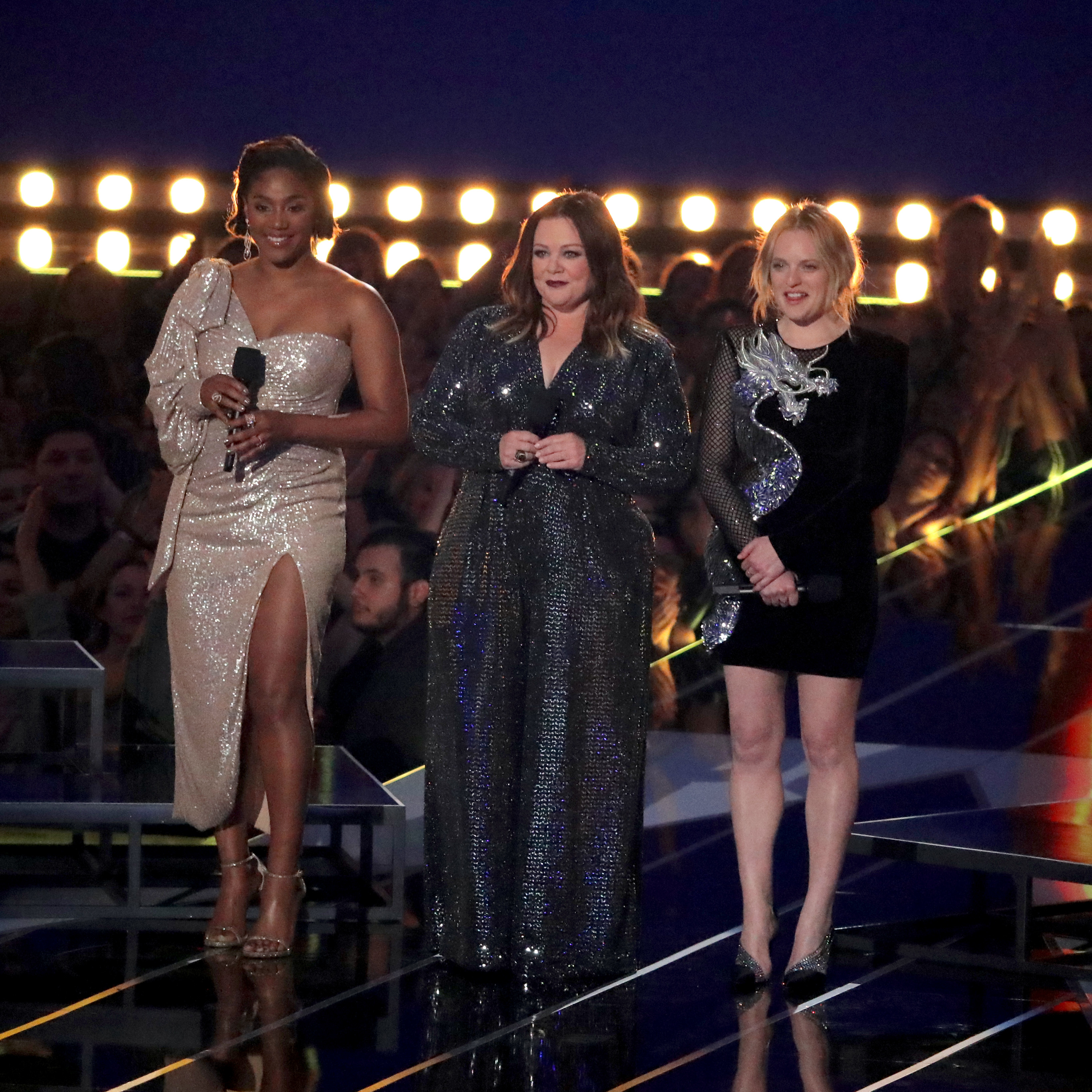 Tiffany Haddish, Melissa McCarthy and Elizabeth Moss appear onstage during the MTV Movie & TV Awards in Santa Monica, California, on June 15, 2019.