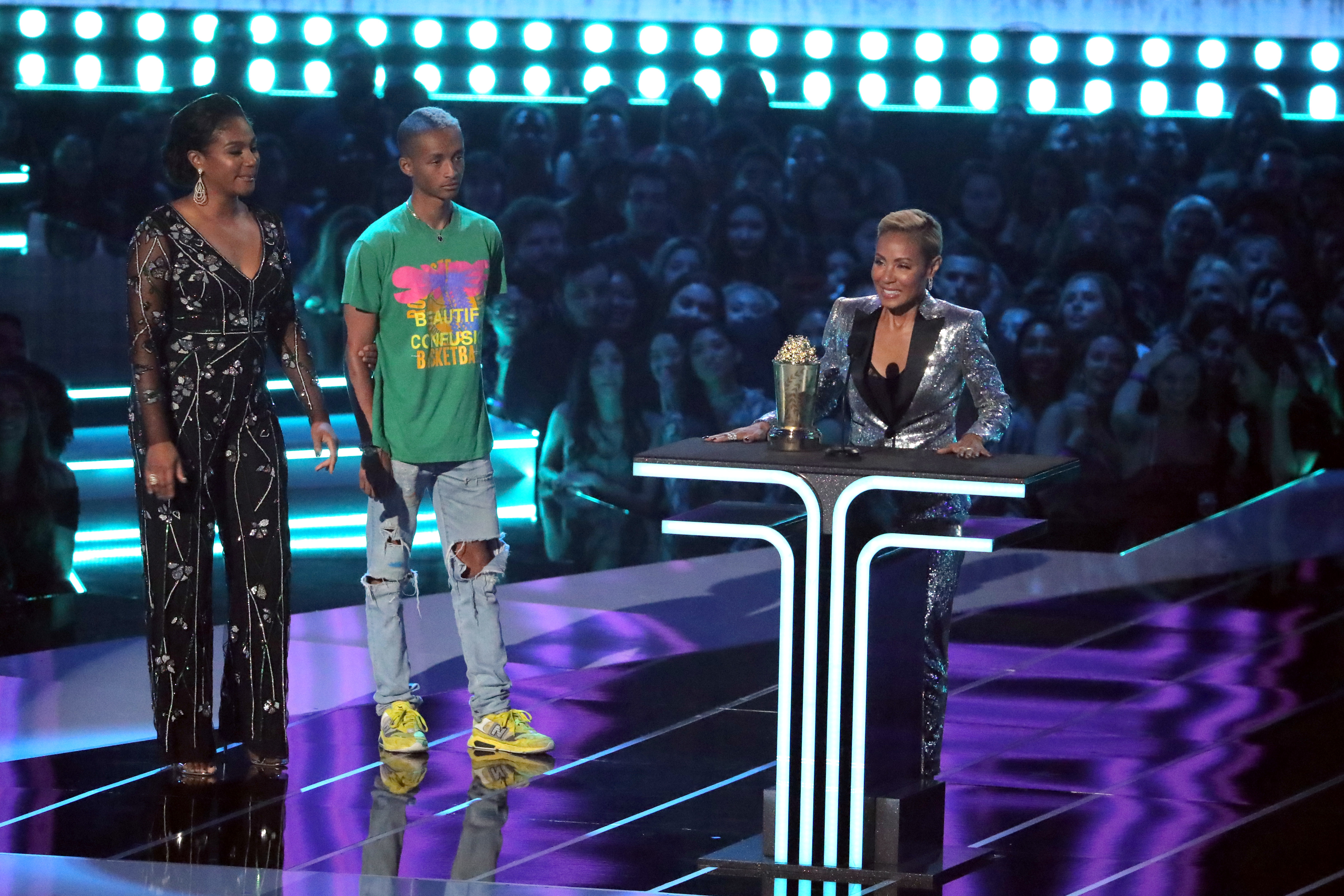 Jada Pinkett Smith accepts the Trailblazer Award with Jaden Smith after being presented by Tiffany Haddish during the MTV Movie & TV Awards in Santa Monica, California, on June 15, 2019.
