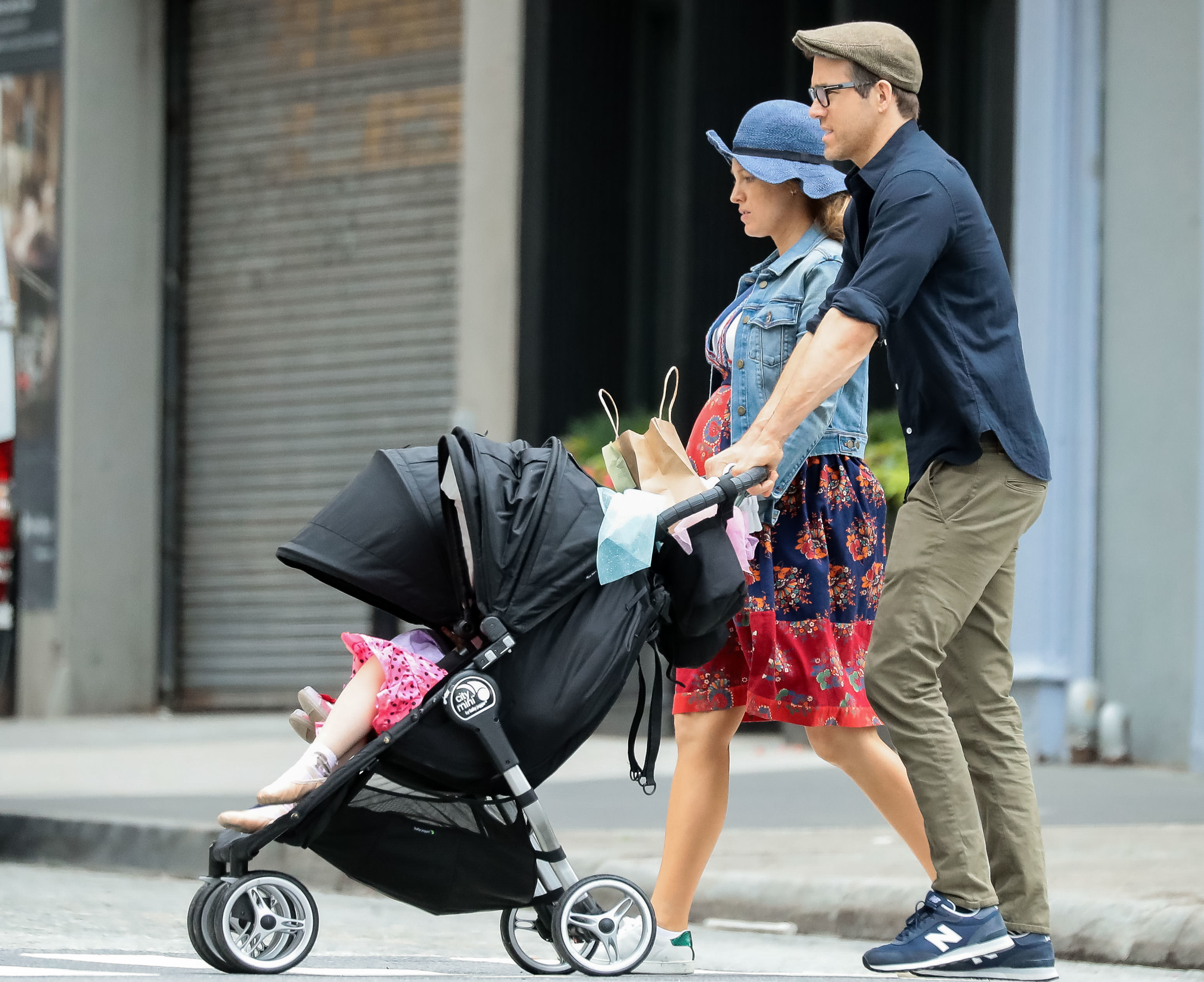 Blake Lively, Ryan Reynolds and their daughter, Inez are seen in New York City on June 19, 2019.