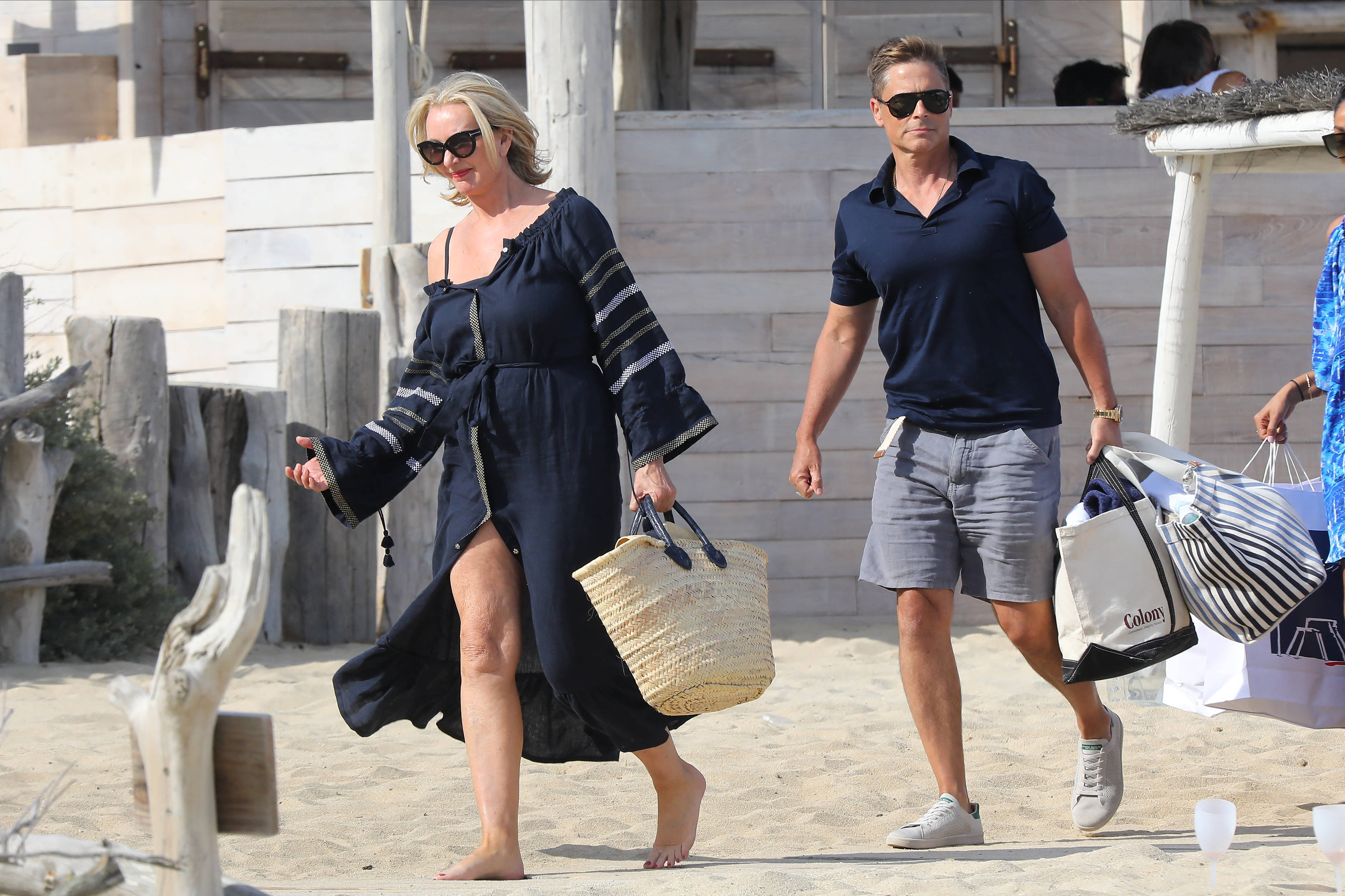 Rob Lowe and wife Sheryl Berkoff were seen at Le Club 55 in St. Tropez, France on June 19, 2019.