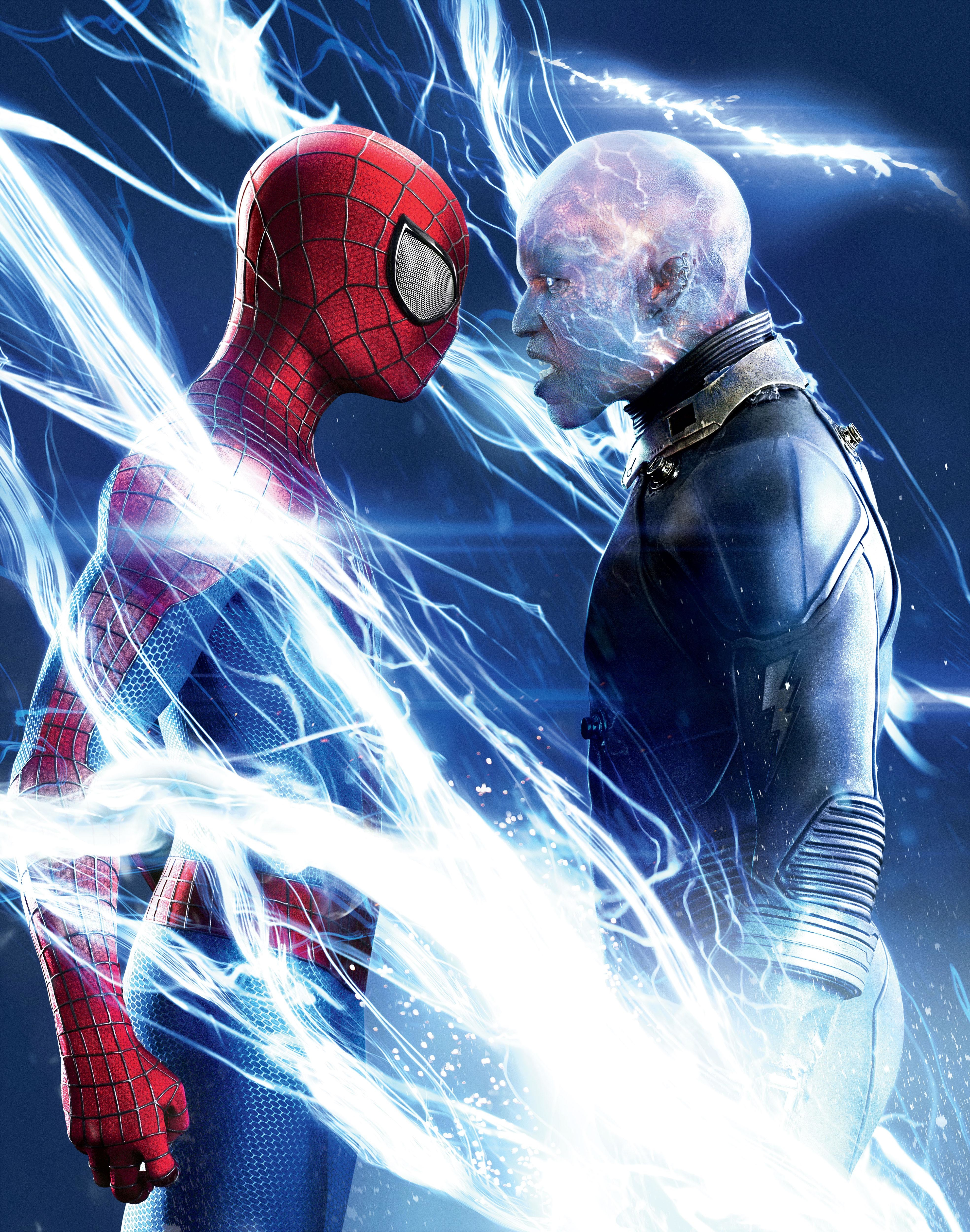 """Andrew Garfield as Spider Man/Peter Parker and Jamie Foxx as Electro/Max Dillon in 2014's """"The Amazing Spider Man 2."""""""