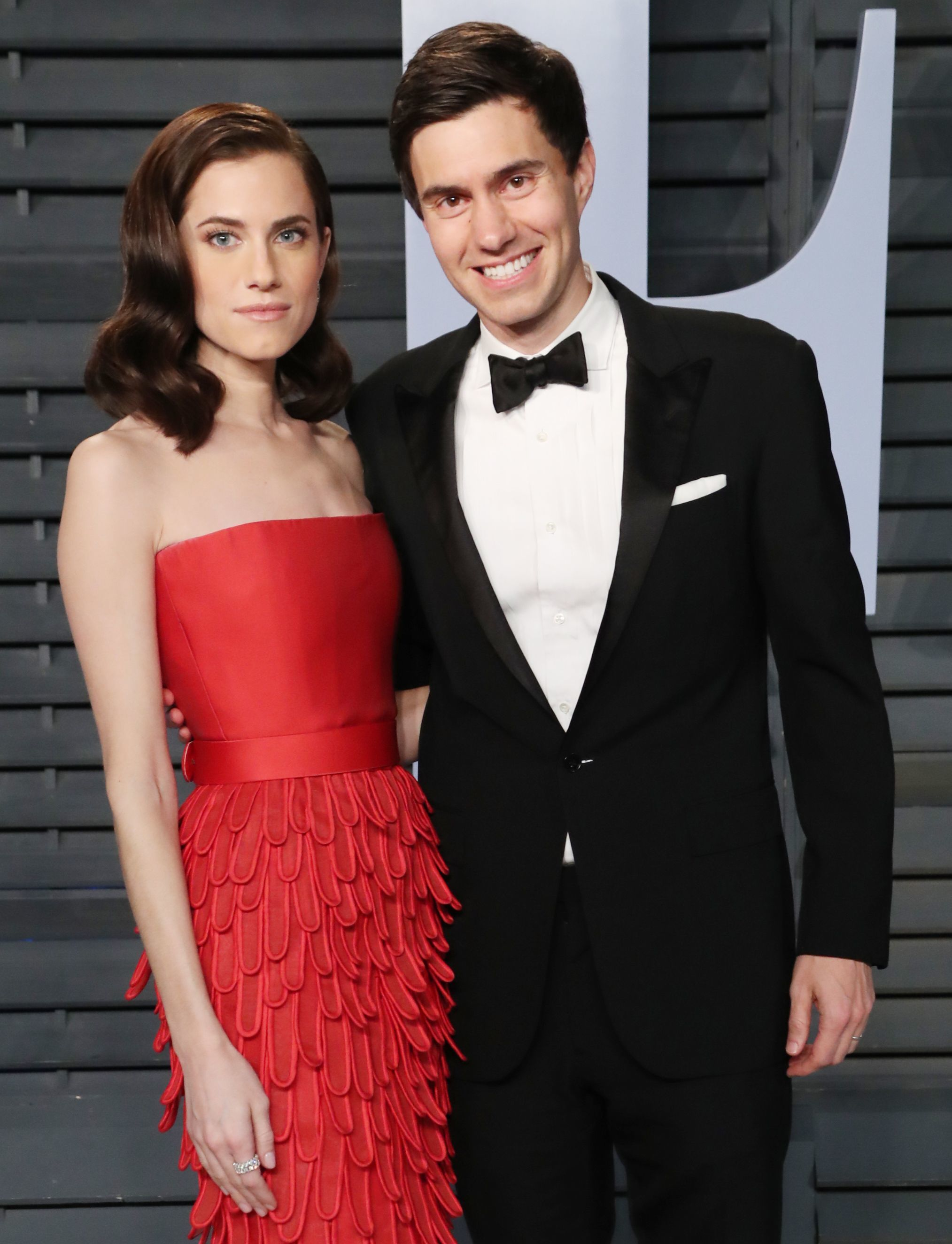 Allison Williams and Ricky Van Veen arrive at the Vanity Fair Oscar Party in Beverly Hills on March 4, 2018.