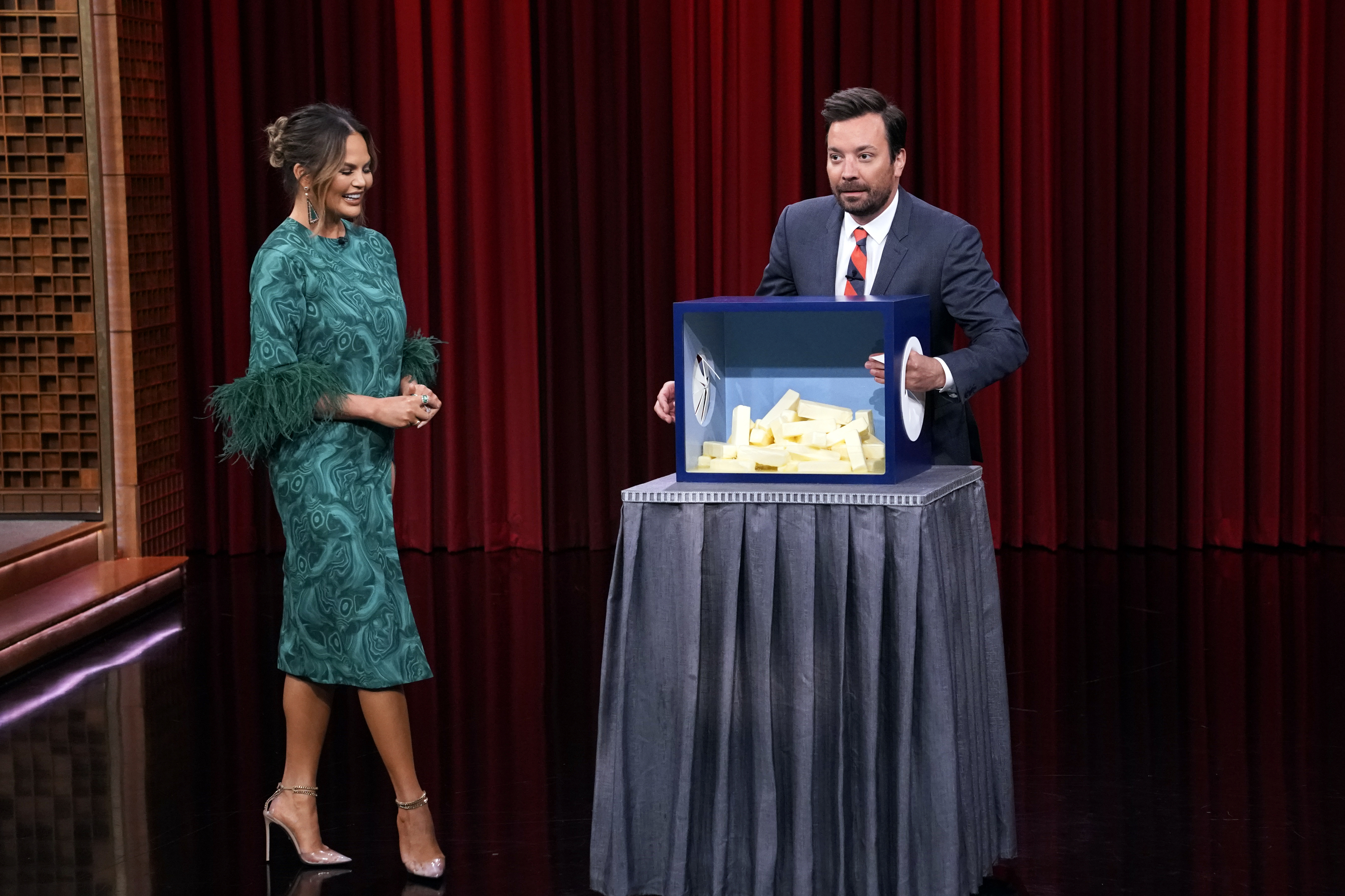"Chrissy Teigen and Jimmy Fallon play ""Can You Feel It"" on June 24, 2019."