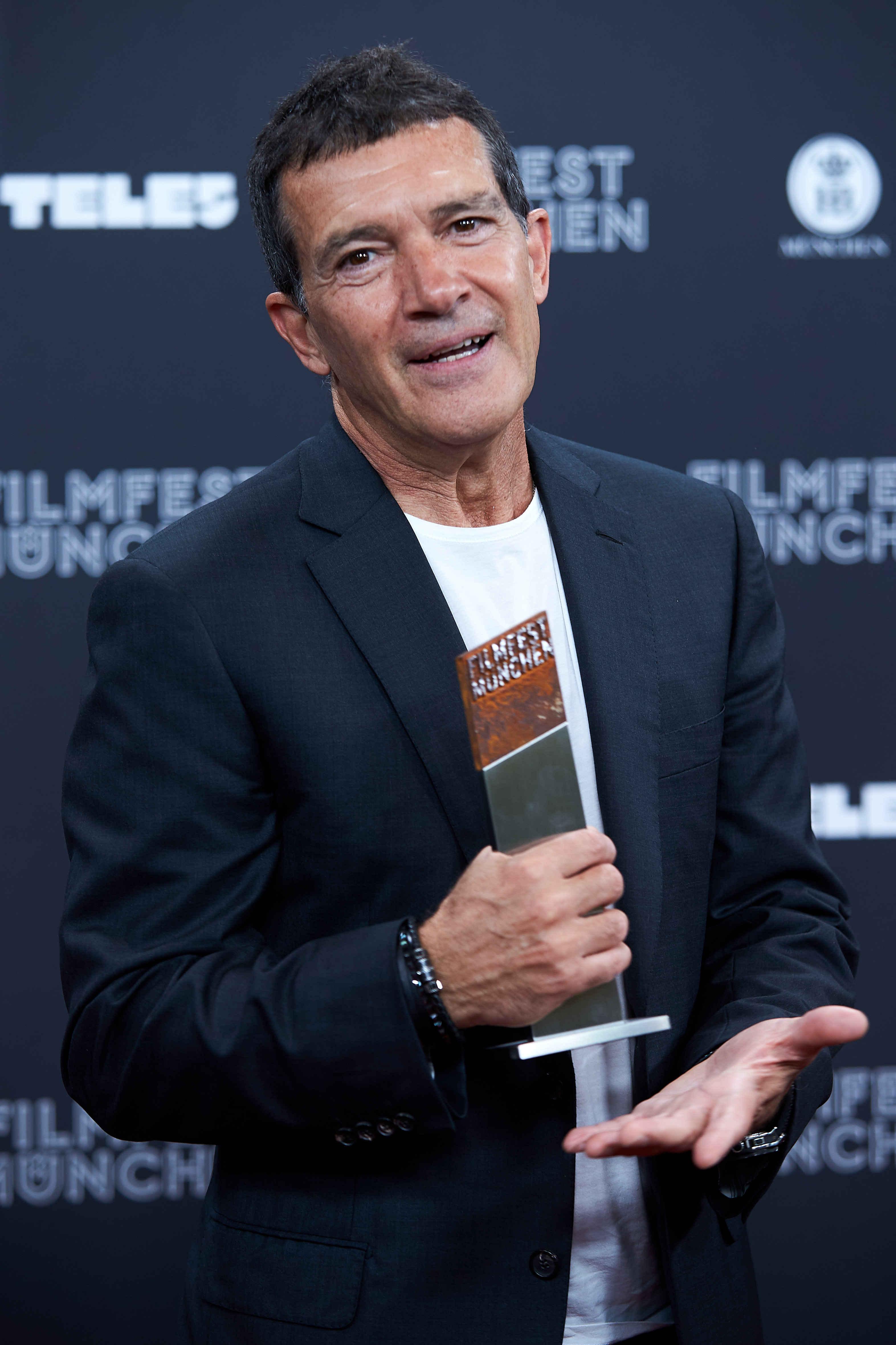 Antonio Banderas holds the Cinemerit Award at the Munich Film Festival on June 29, 2019.