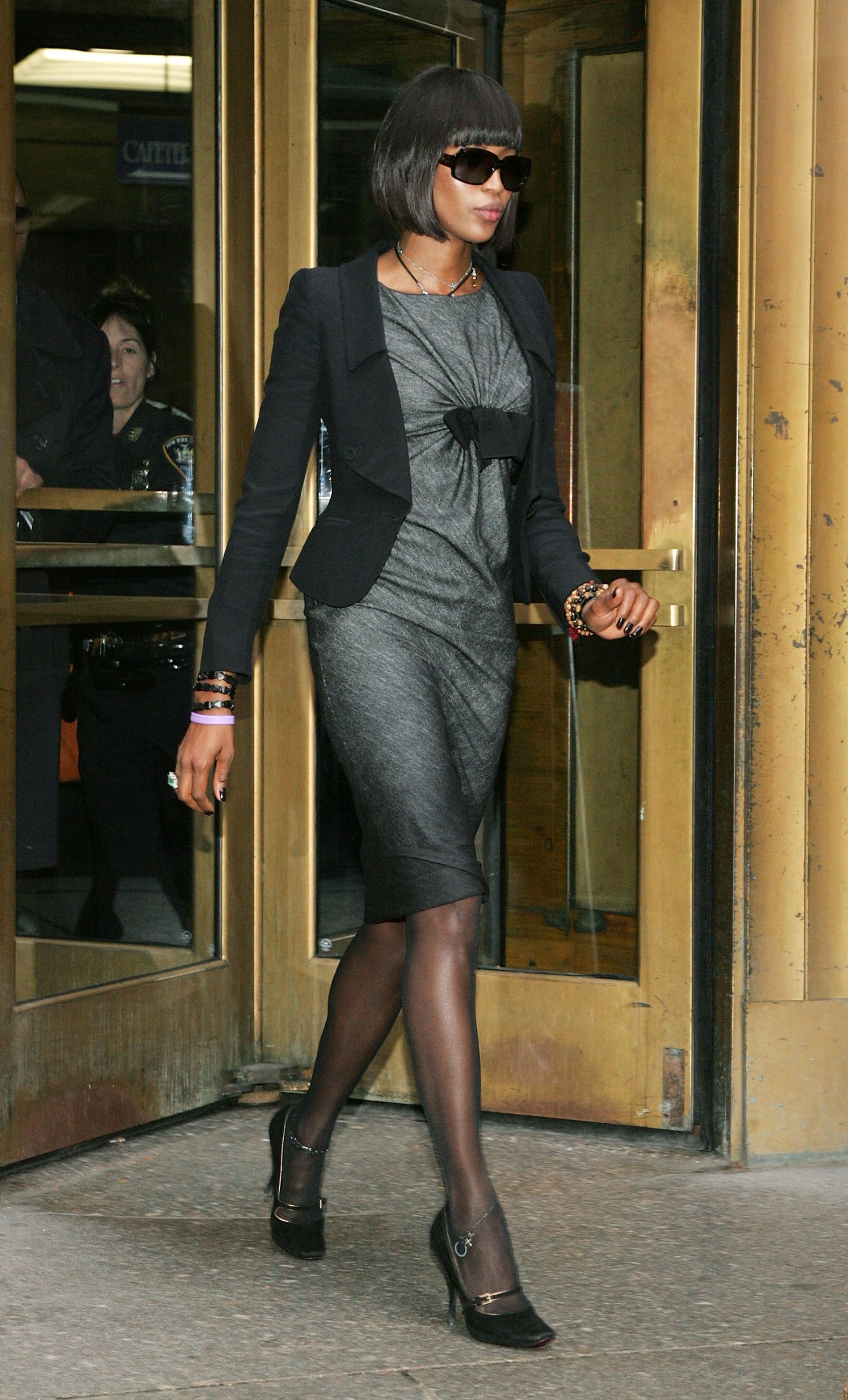 Supermodel Naomi Campbell leaves after appearing in a Manhattan Criminal Court for assault charges in New York City on Nov. 15, 2006. Campbell is being accused of hitting former  housekeeper Gaby Gibson.