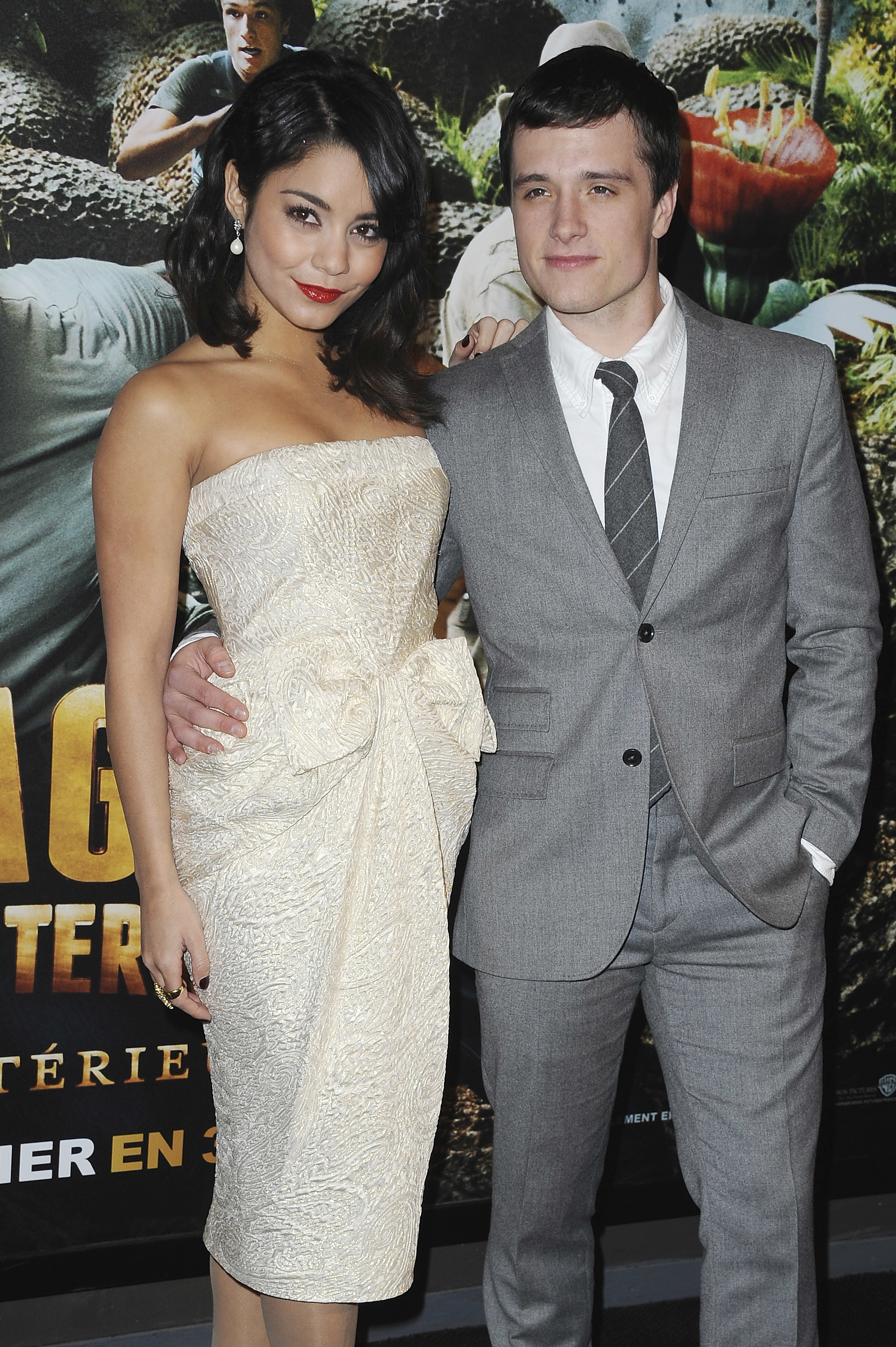 Vanessa Hudgens and Josh Hutcherson pose during the 'Journey 2: The Mysterious Island' Premiere at UGC Cine Cite Bercy in Paris, France on Feb. 12, 2012.