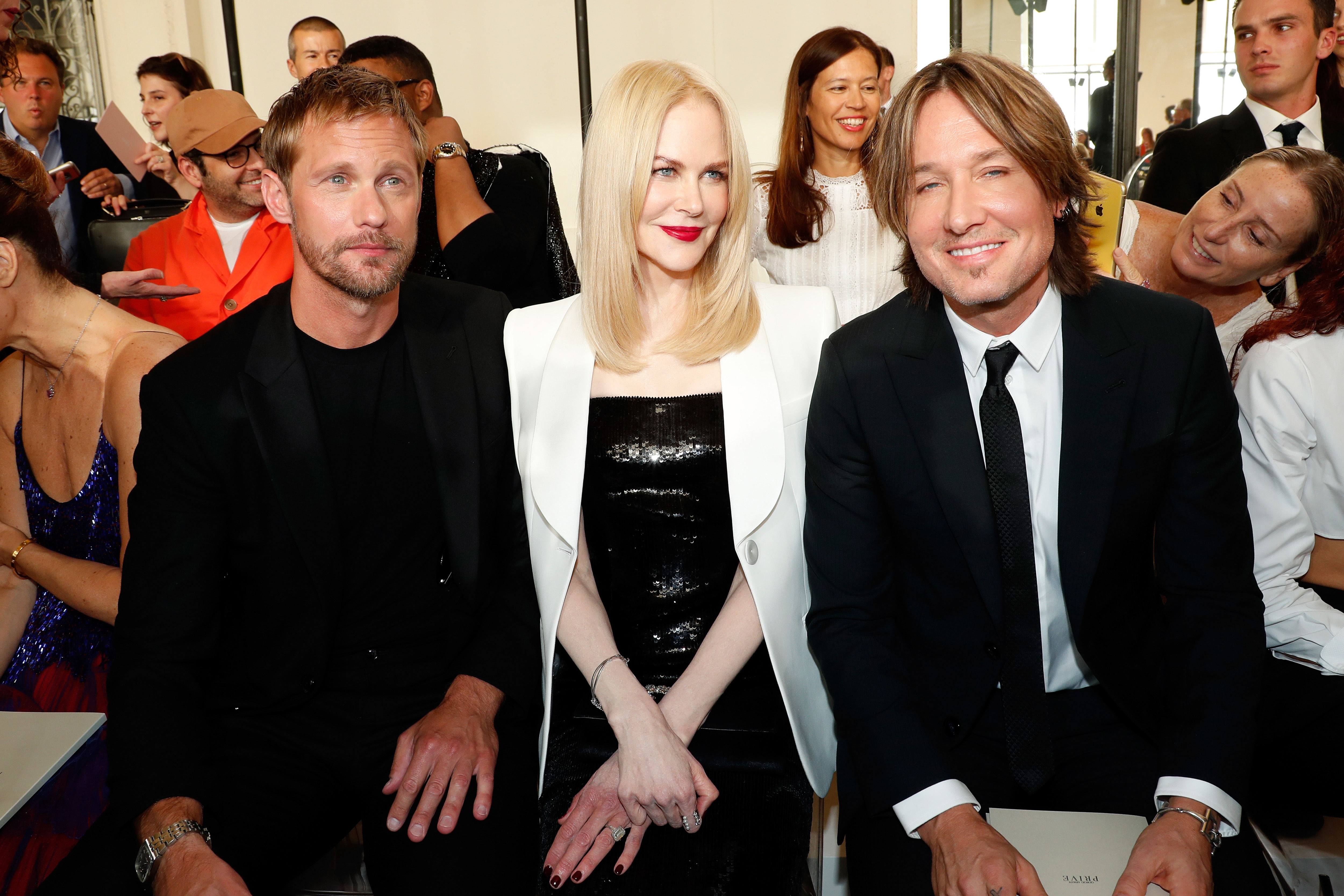 Alexander Skarsgard, Nicole Kidman and Keith Urban attend the Giorgio Armani Prive Haute Couture Fall/Winter 2019 2020 show as part of Paris Fashion Week on July 2, 2019.