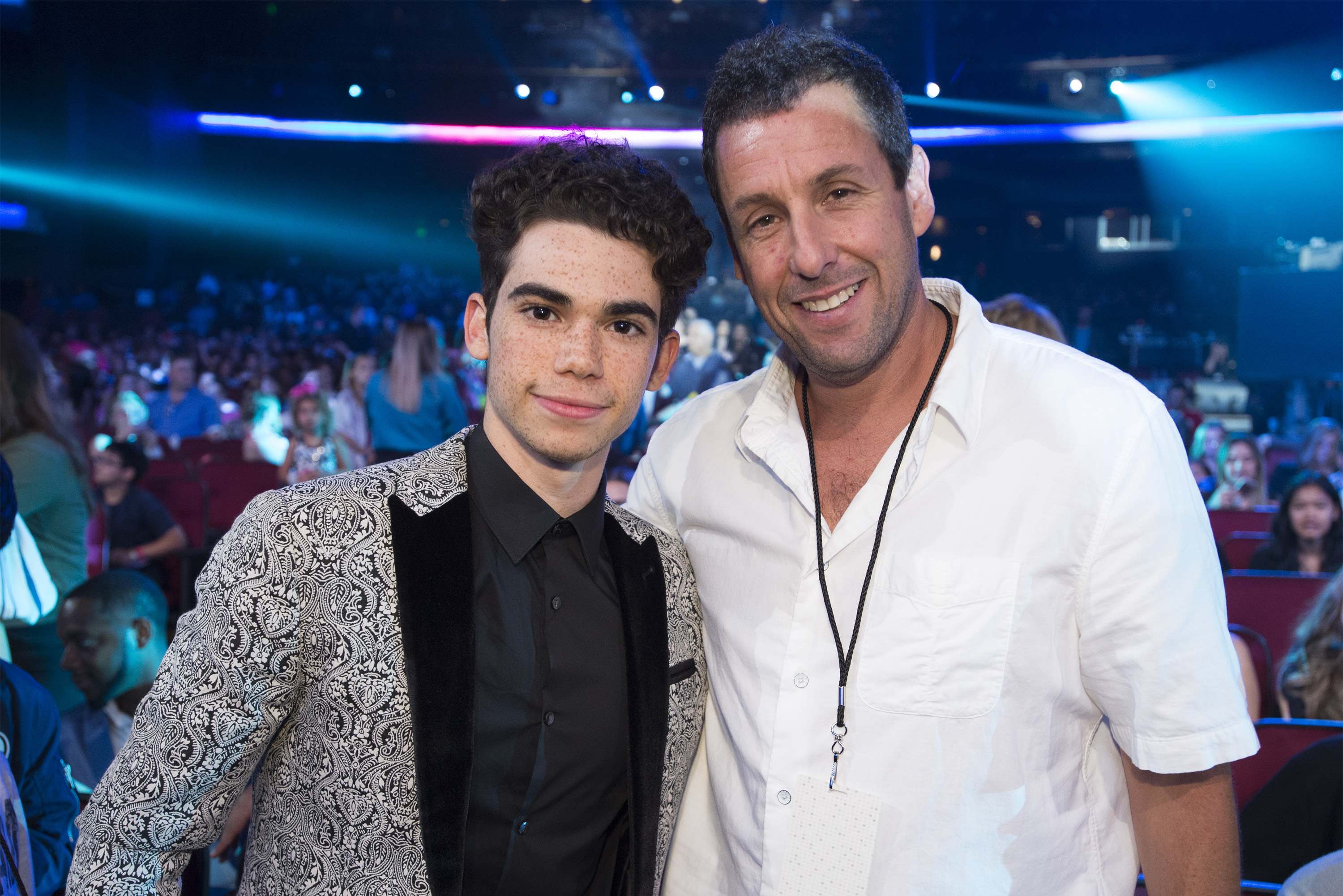 (From left) Cameron Boyce and Adam Sandler attend the Radio Disney Music Awards at Microsoft Theater in Los Angeles, Calif., on April 29, 2017.