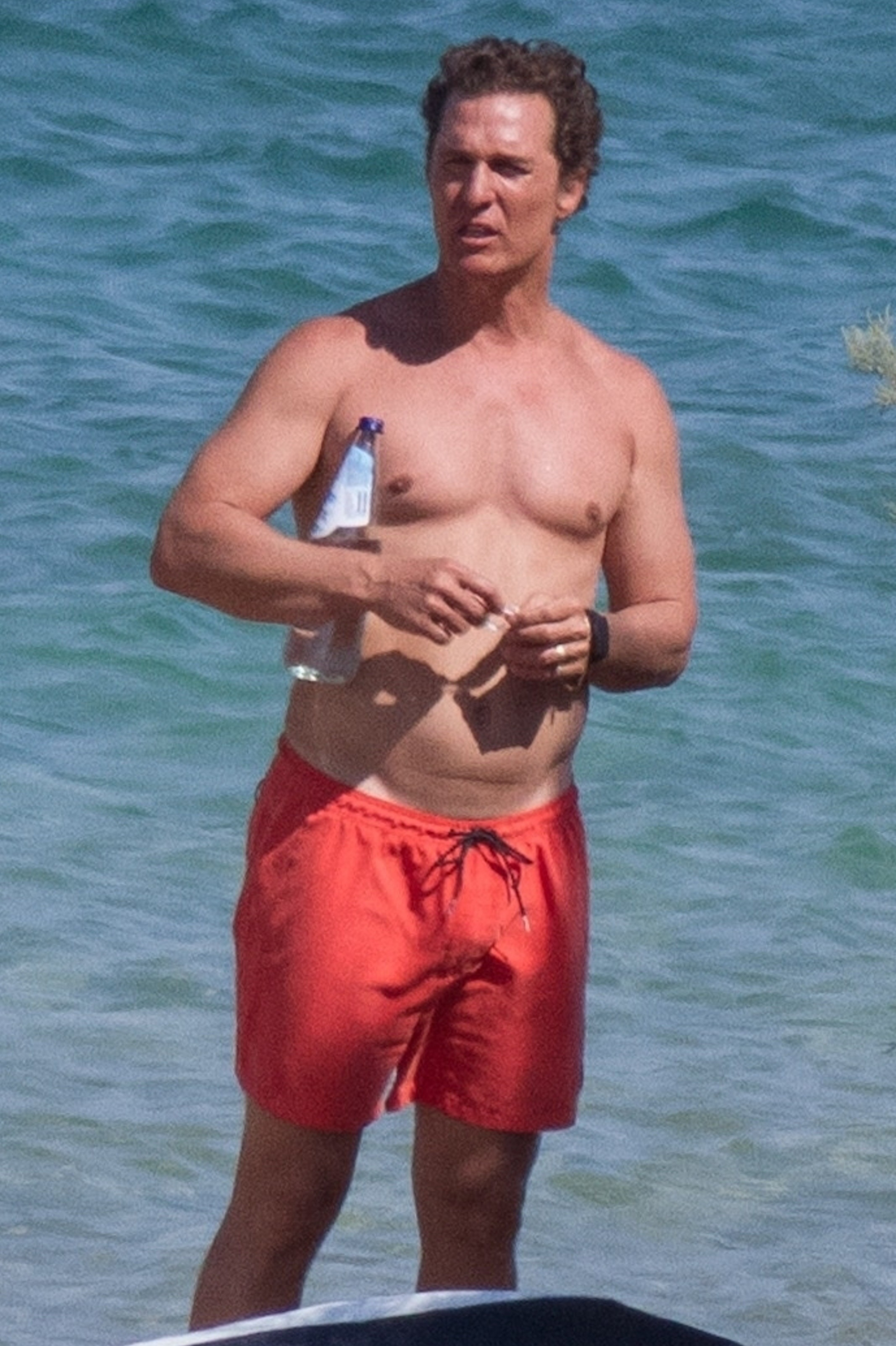 Matthew McConaughey showed off his hot body while vacationing on the Greek Island of Antiparos on June 28, 2019.