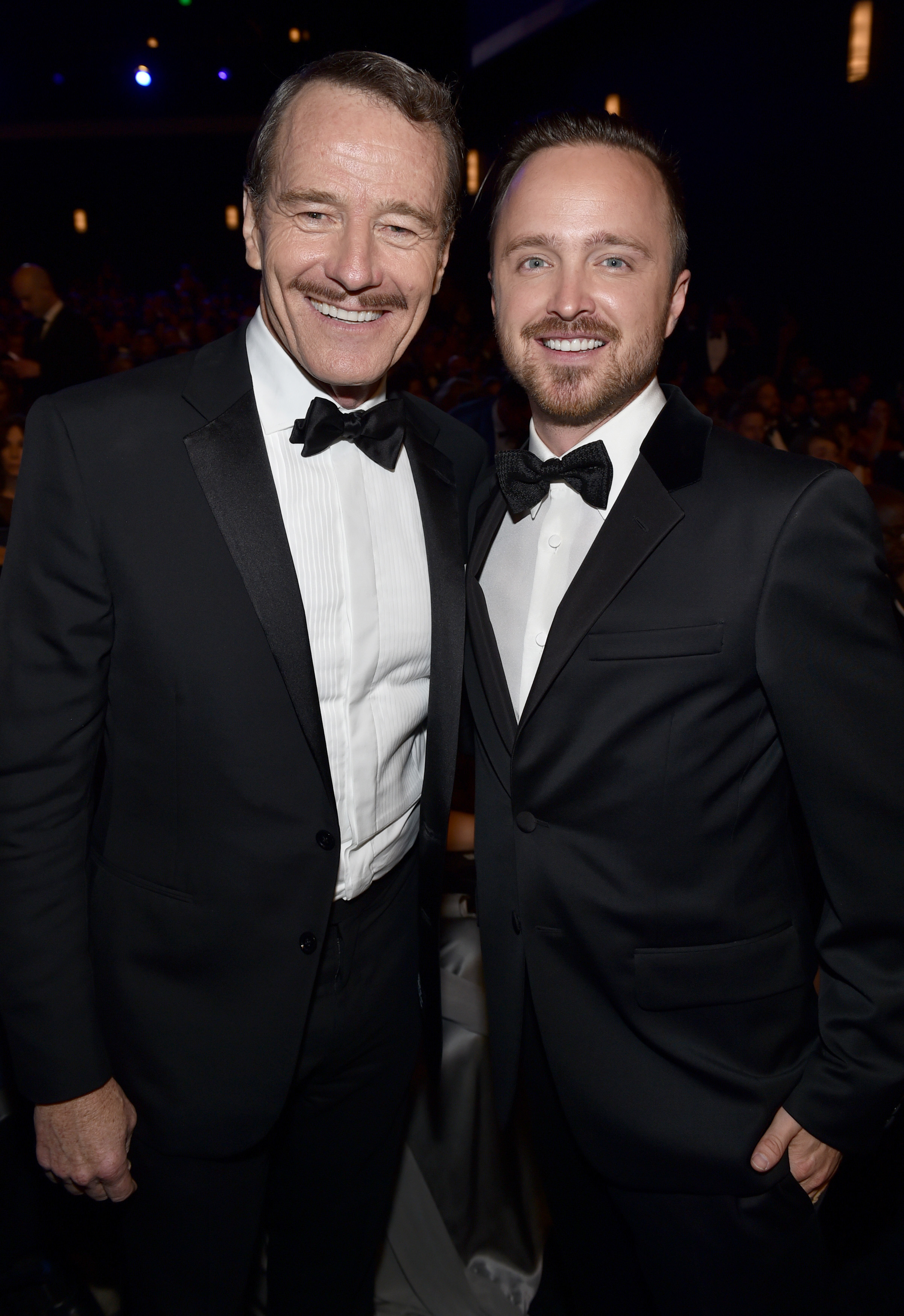 Bryan Cranston and Aaron Paul attend the 66th Primetime Emmy Awards at the Nokia Theatre L.A. Live in Los Angeles on Aug. 25, 2014.