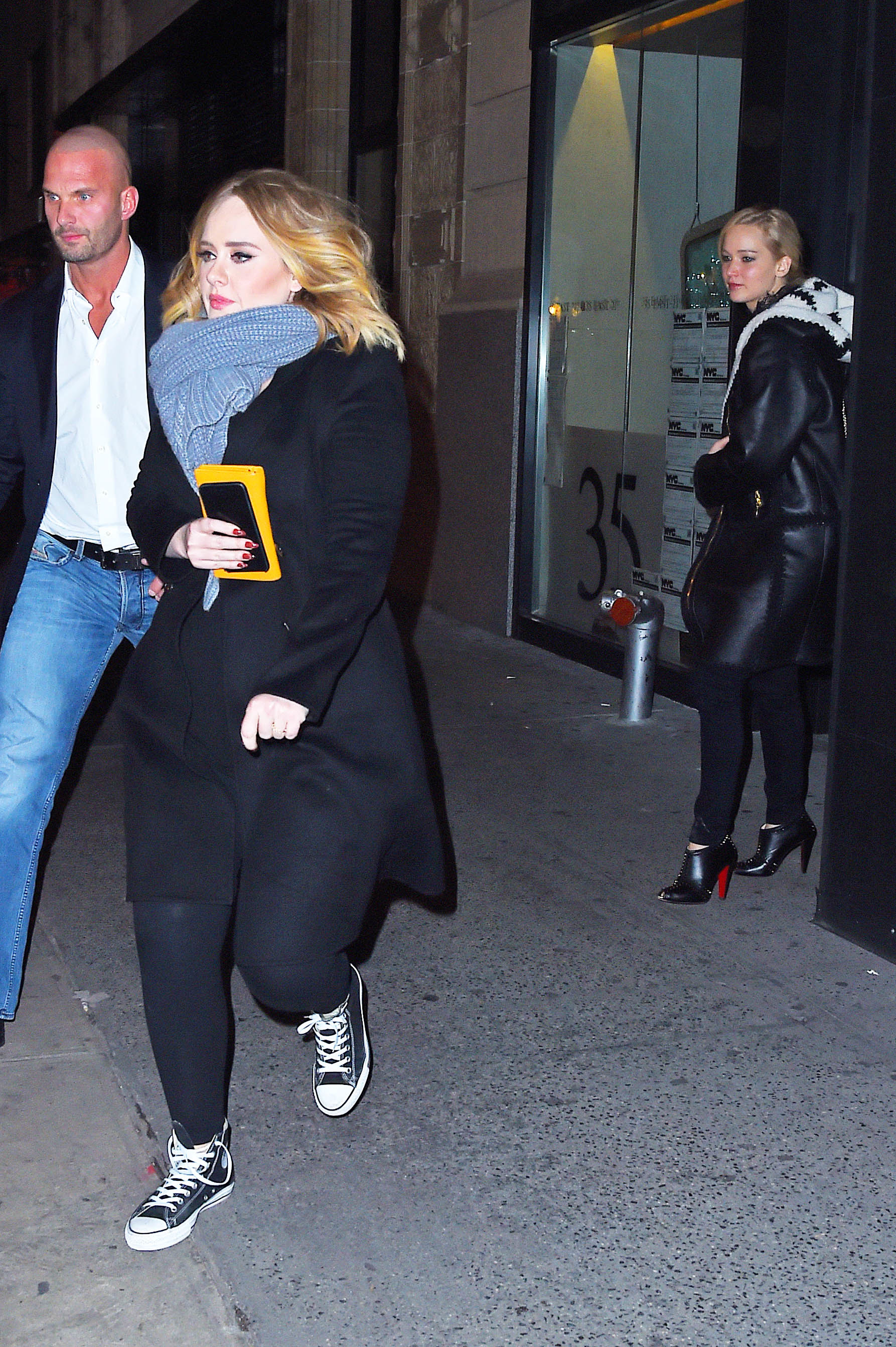 Adele and Jennifer Lawrence get dinner at Cosme Mexican restaurant in the Flatiron in New York on Nov. 23, 2015.