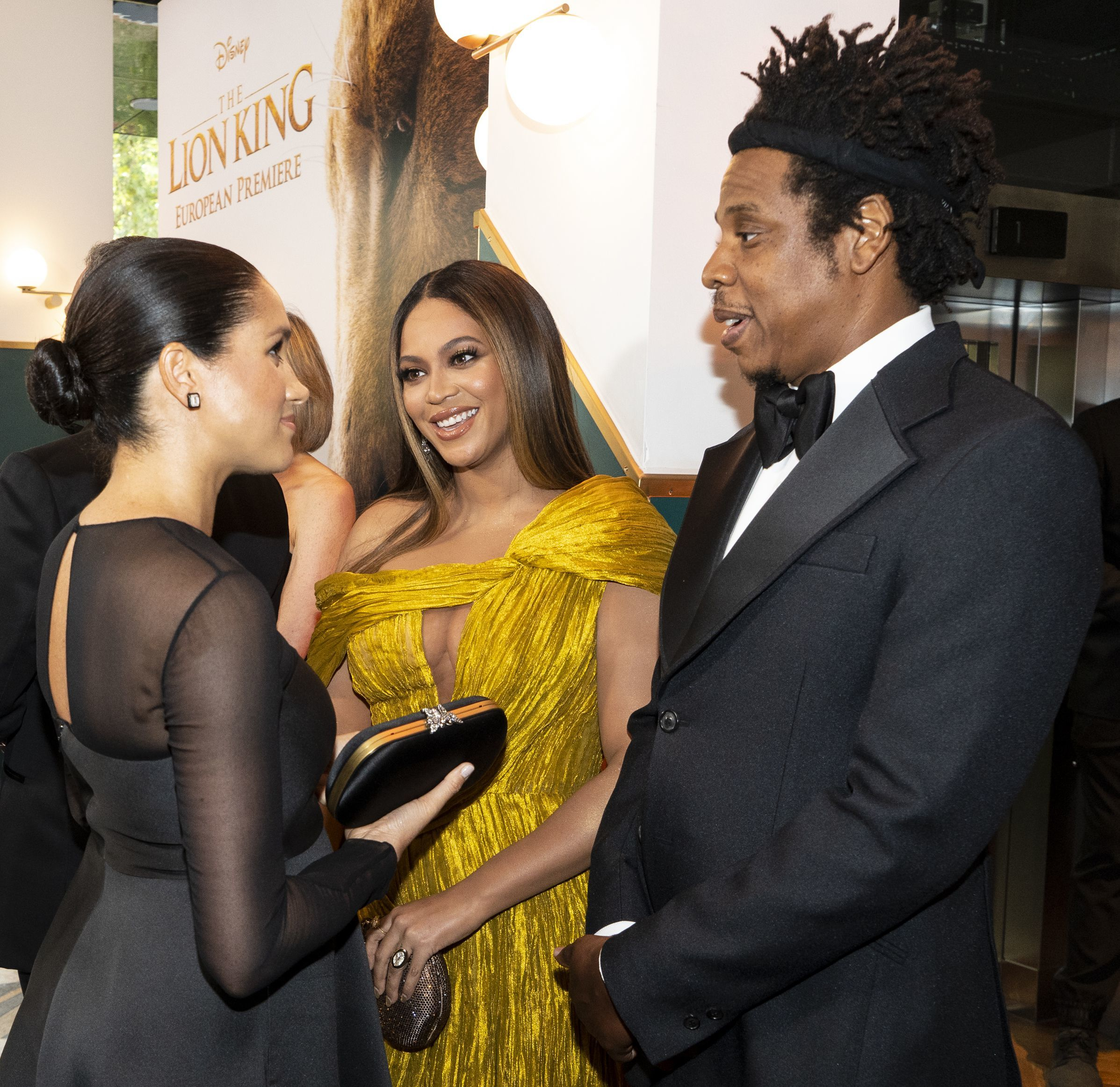 "Duchess Meghan, Beyonce and JAY Z attend the European premiere ""The Lion King"" in London on July 14, 2019."