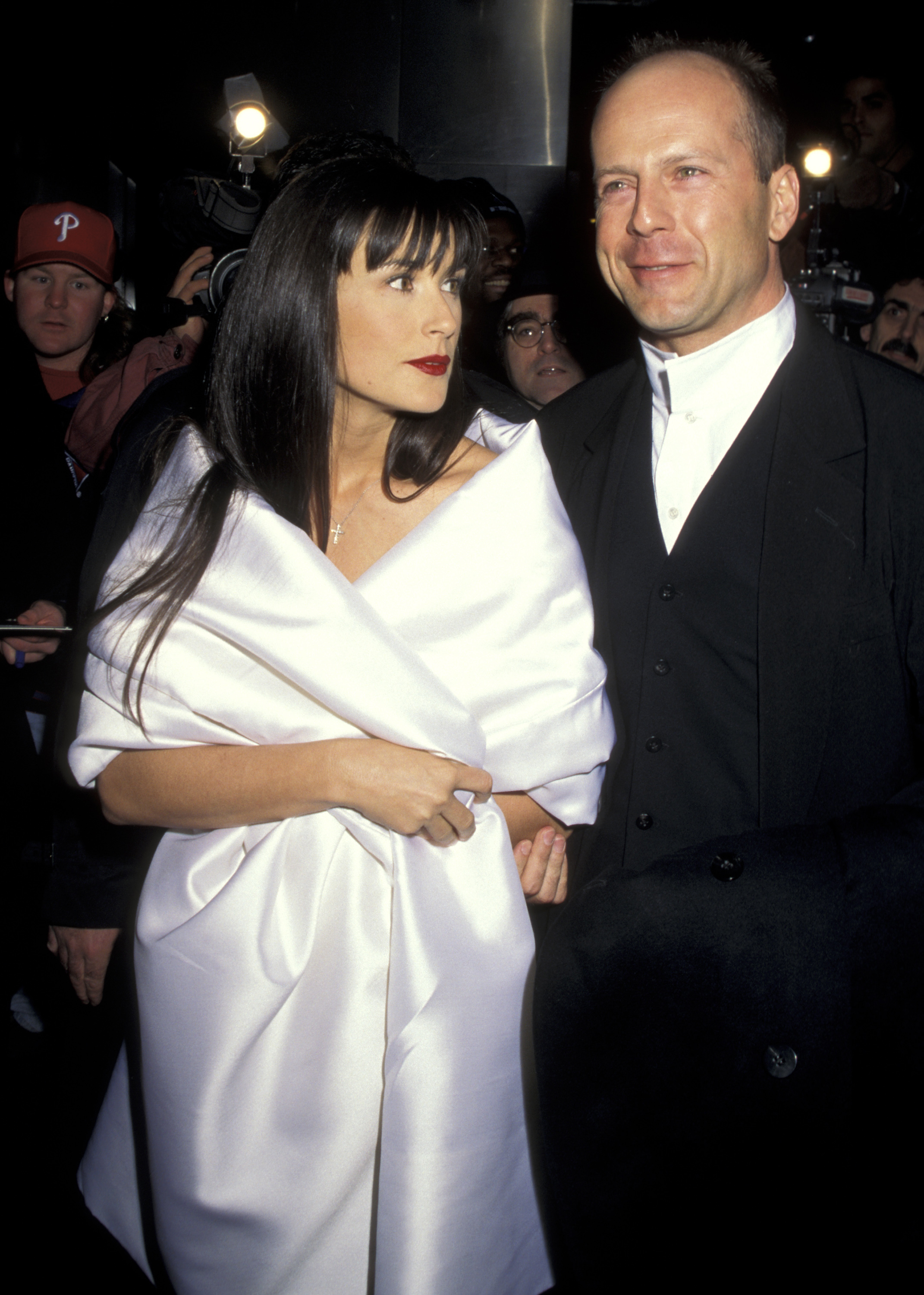 Demi Moore and Bruce Willis attend amfAR's Dolls Have a Heart benefit in New York City on Feb. 14, 1996.