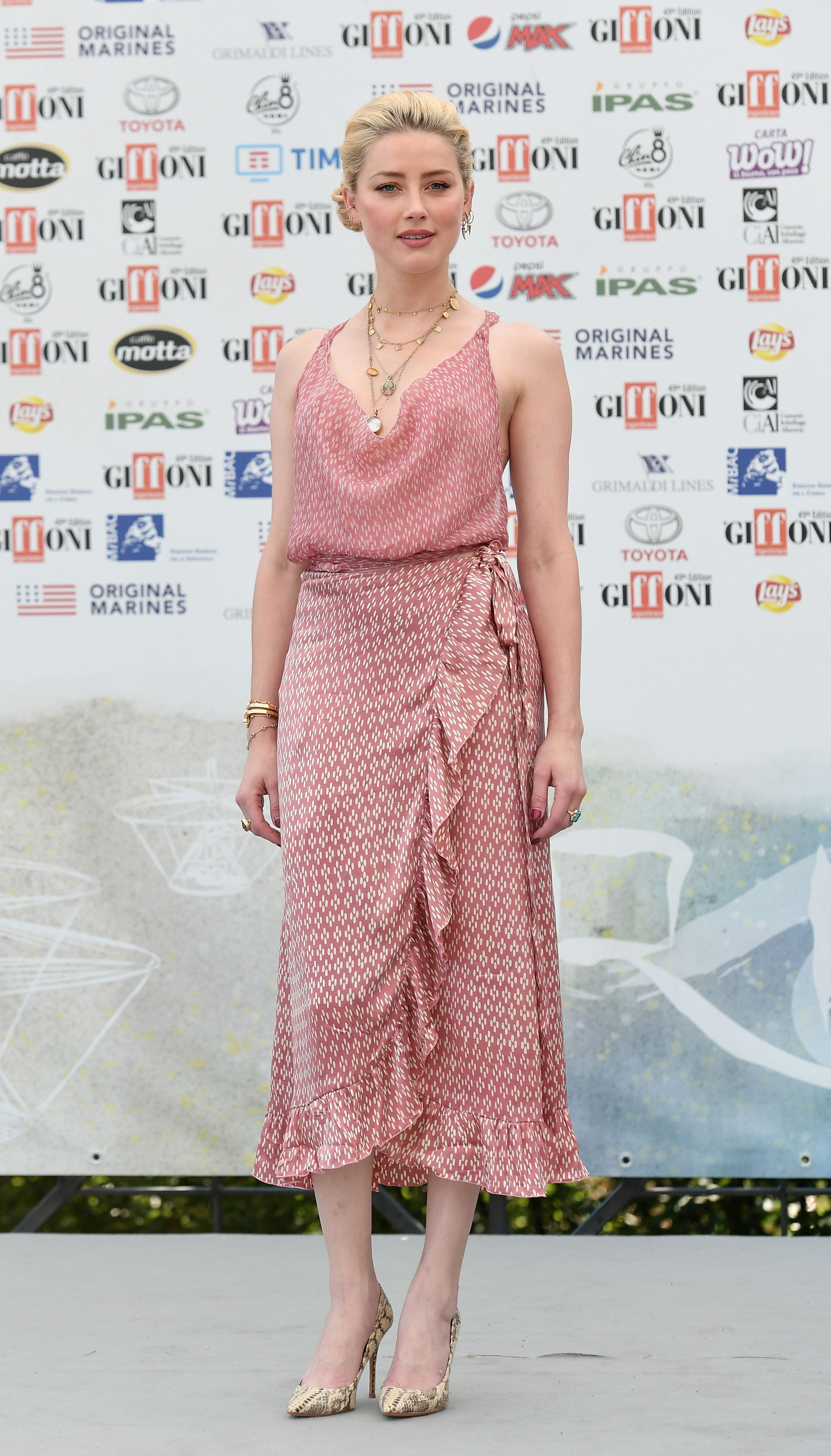 Amber Heard attends the Giffoni Film Festival in Salerno, Italy, on July 25, 2019.
