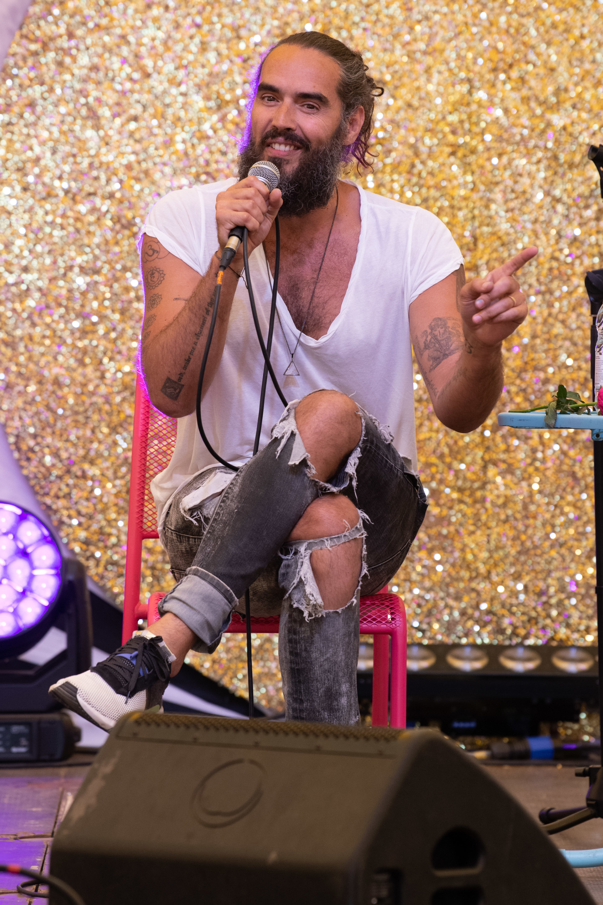 Russell Brand appears at Port Eliot Festival at St Germans in Cornwall on July 28, 2019.