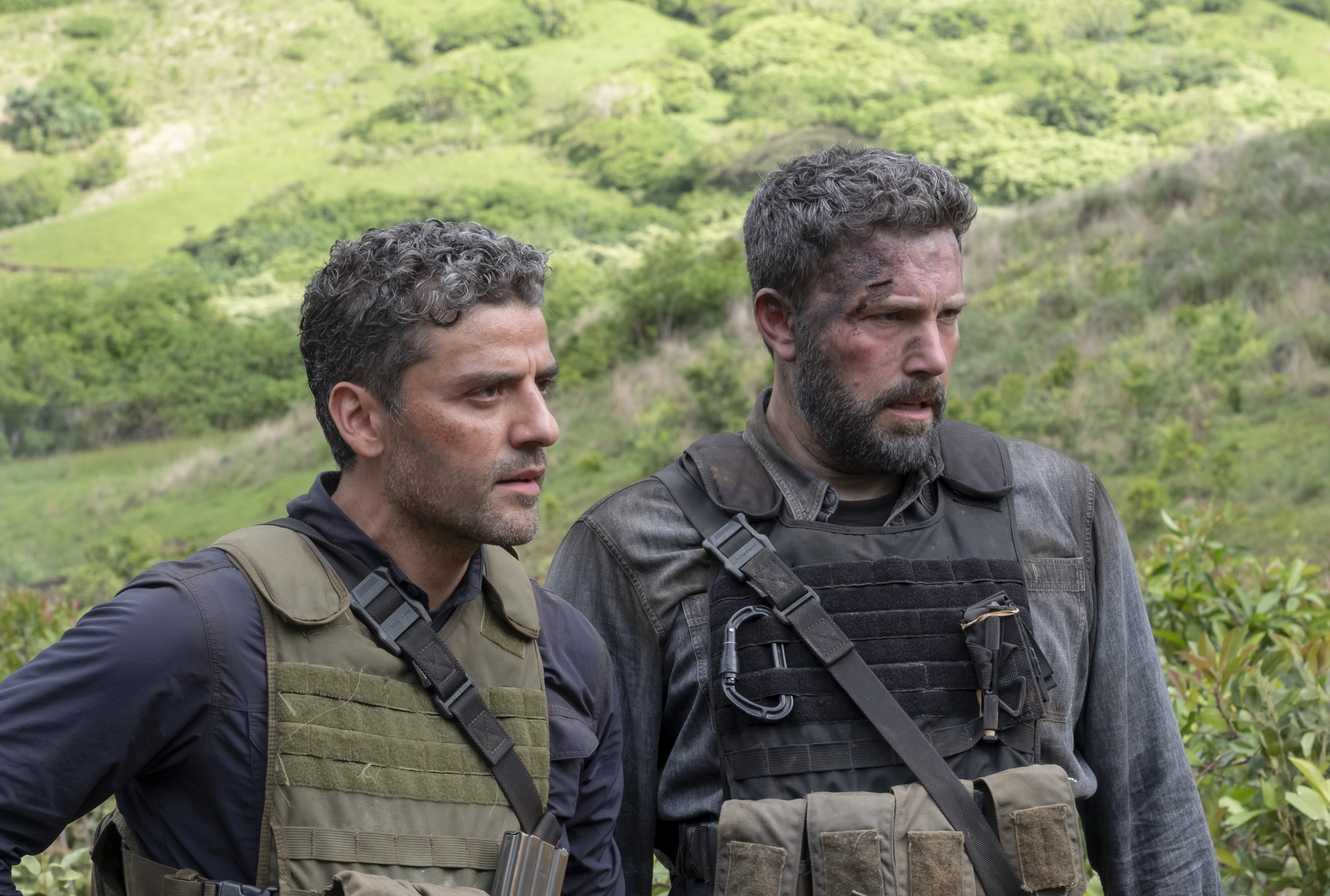 """Oscar Isaac and Ben Affleck star in 2019's """"Triple Frontier."""""""